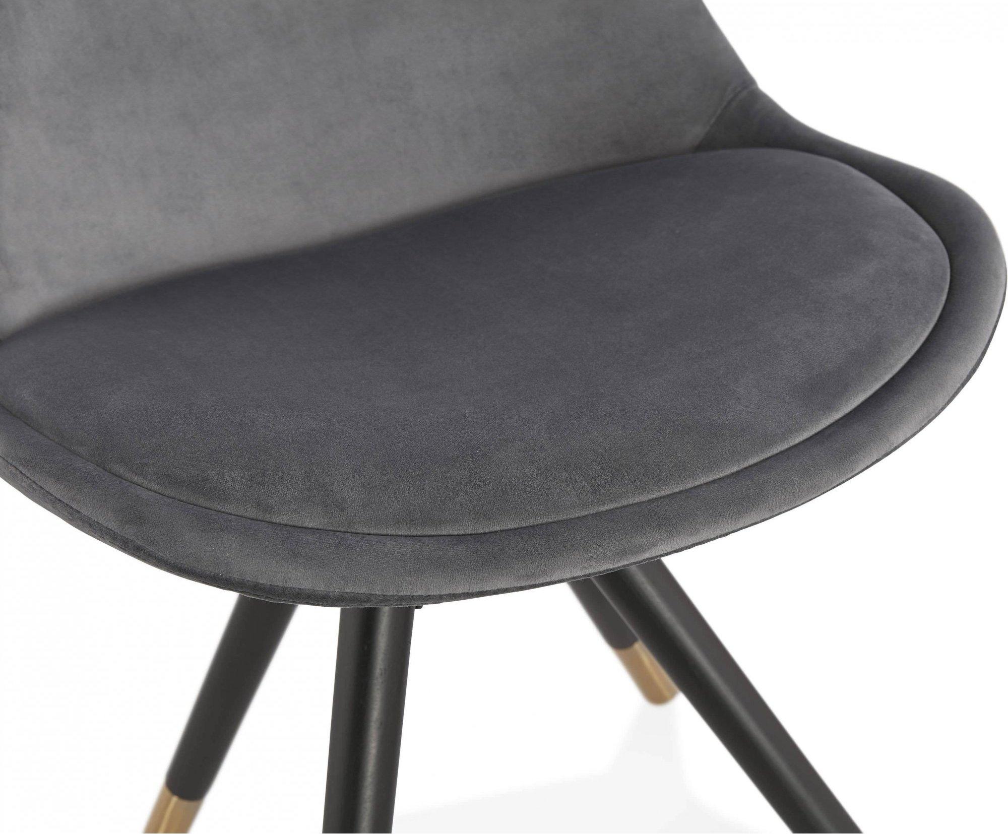 Chaise design scandinave velours rembourrée gris