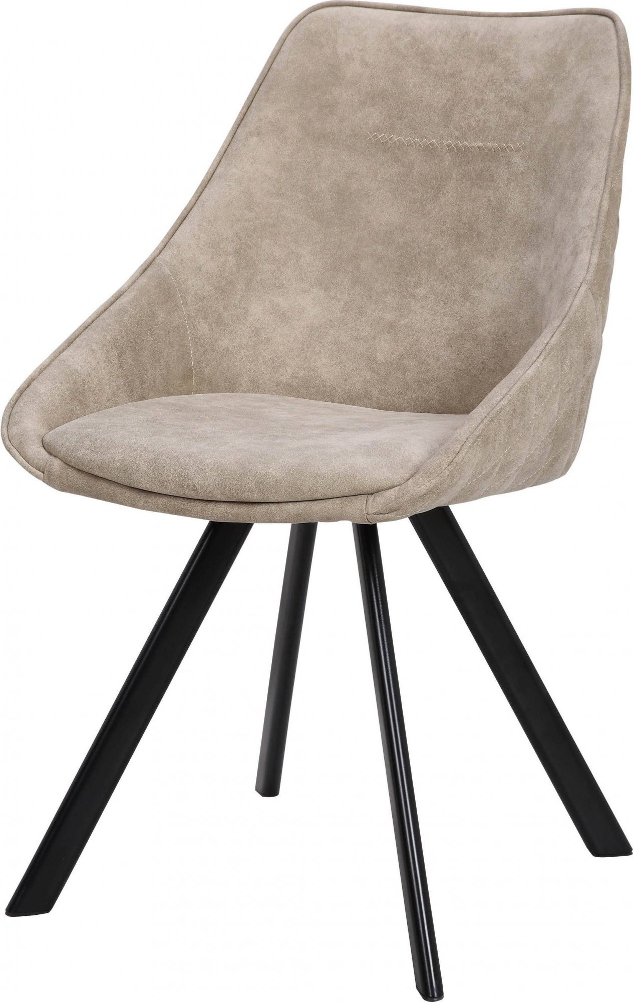 Chaise design velours rembourrée couleur beige (lot de 2)