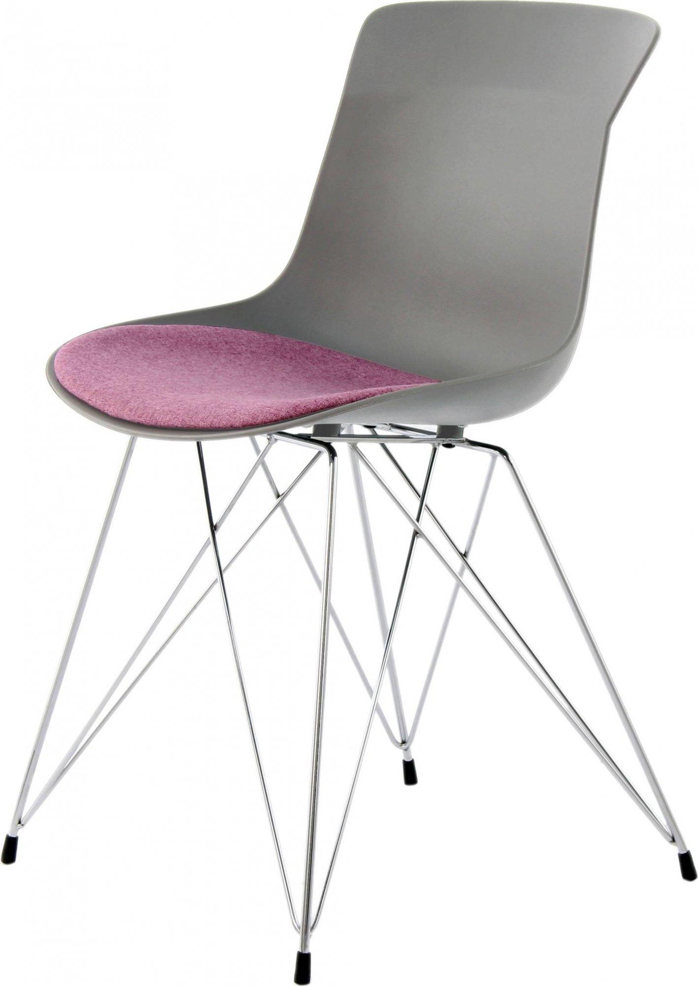 Chaise design eiffel rembourrée gris violet (lot de 2)