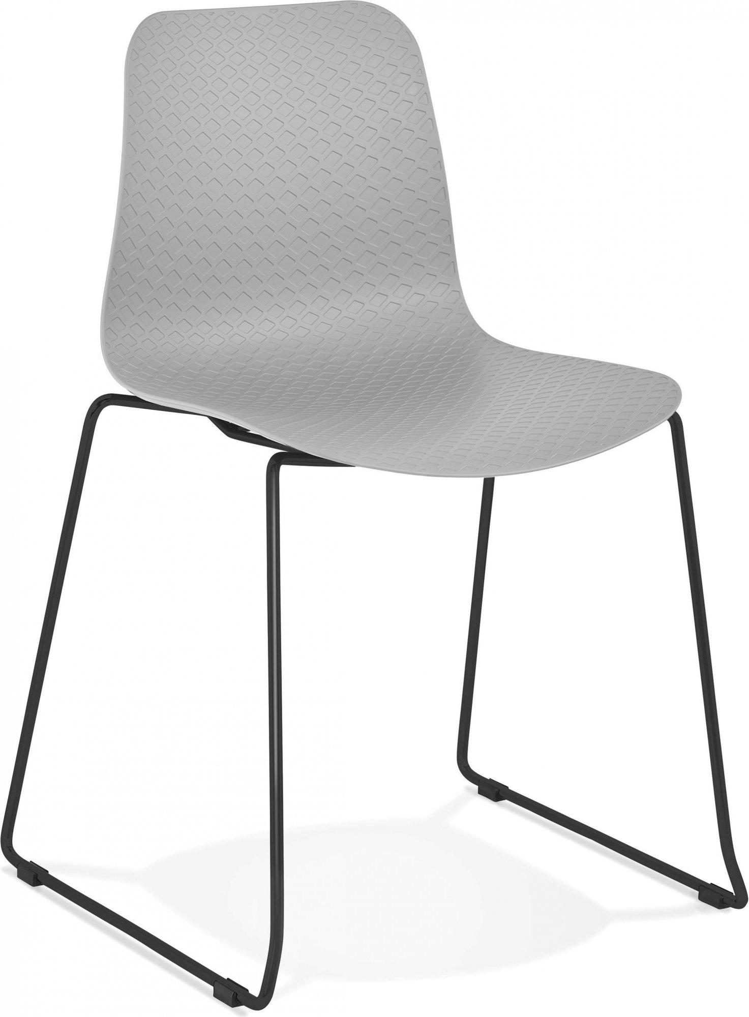 Chaise de table design assise couleur gris pietement noir