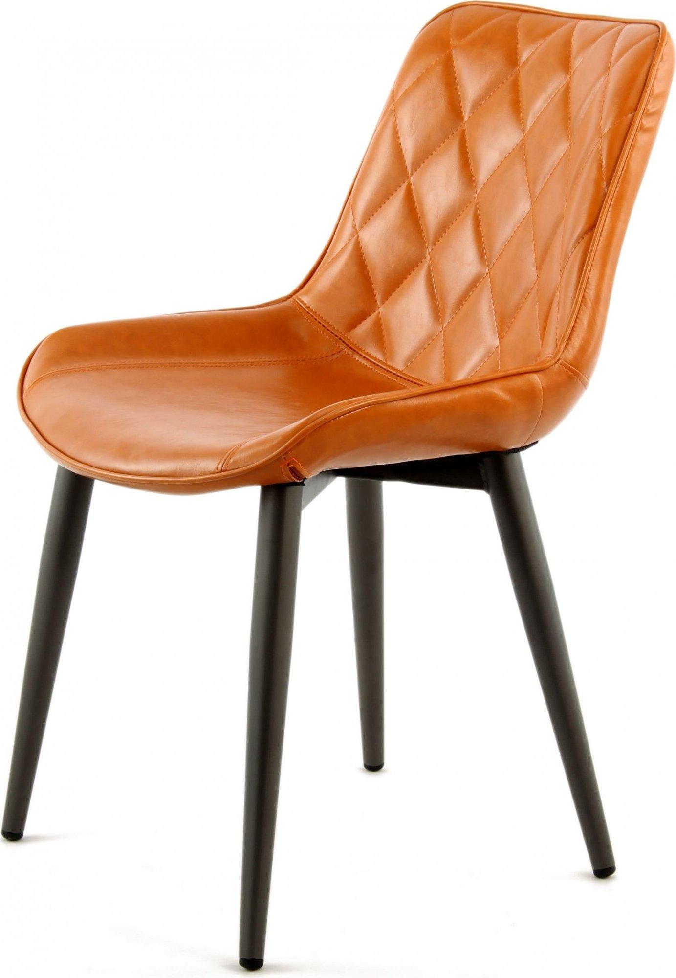 Chaise design rembourrée imitation cuir clair (lot de 2)