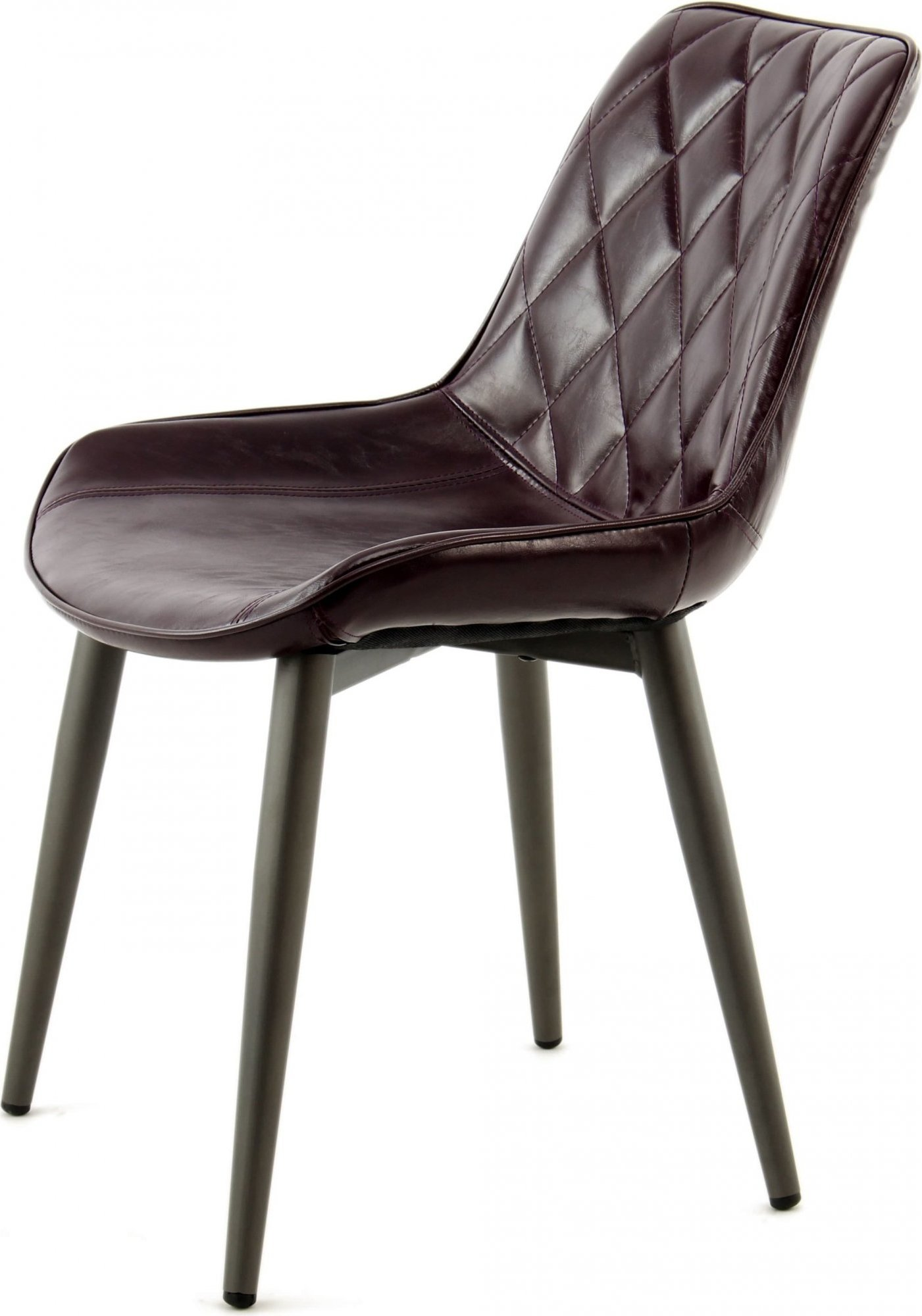 Chaise design rembourrée imitation cuir violet (lot de 2)