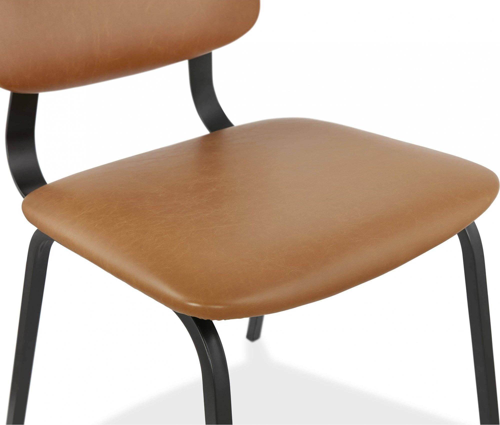 Chaise desig tradition assise rembourrée marron