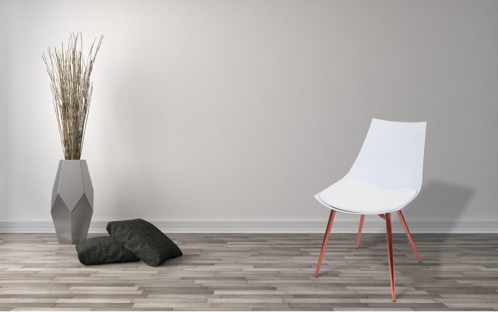 Chaise design imitation cuir blanc pieds cuivré (lot de 4)