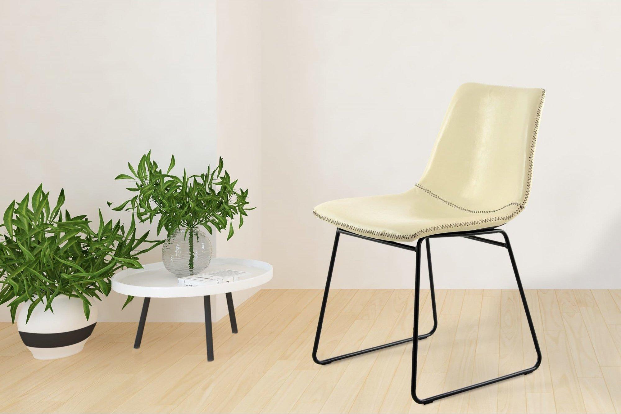 Chaise design imitation couleur blanc beige (lot de 2)