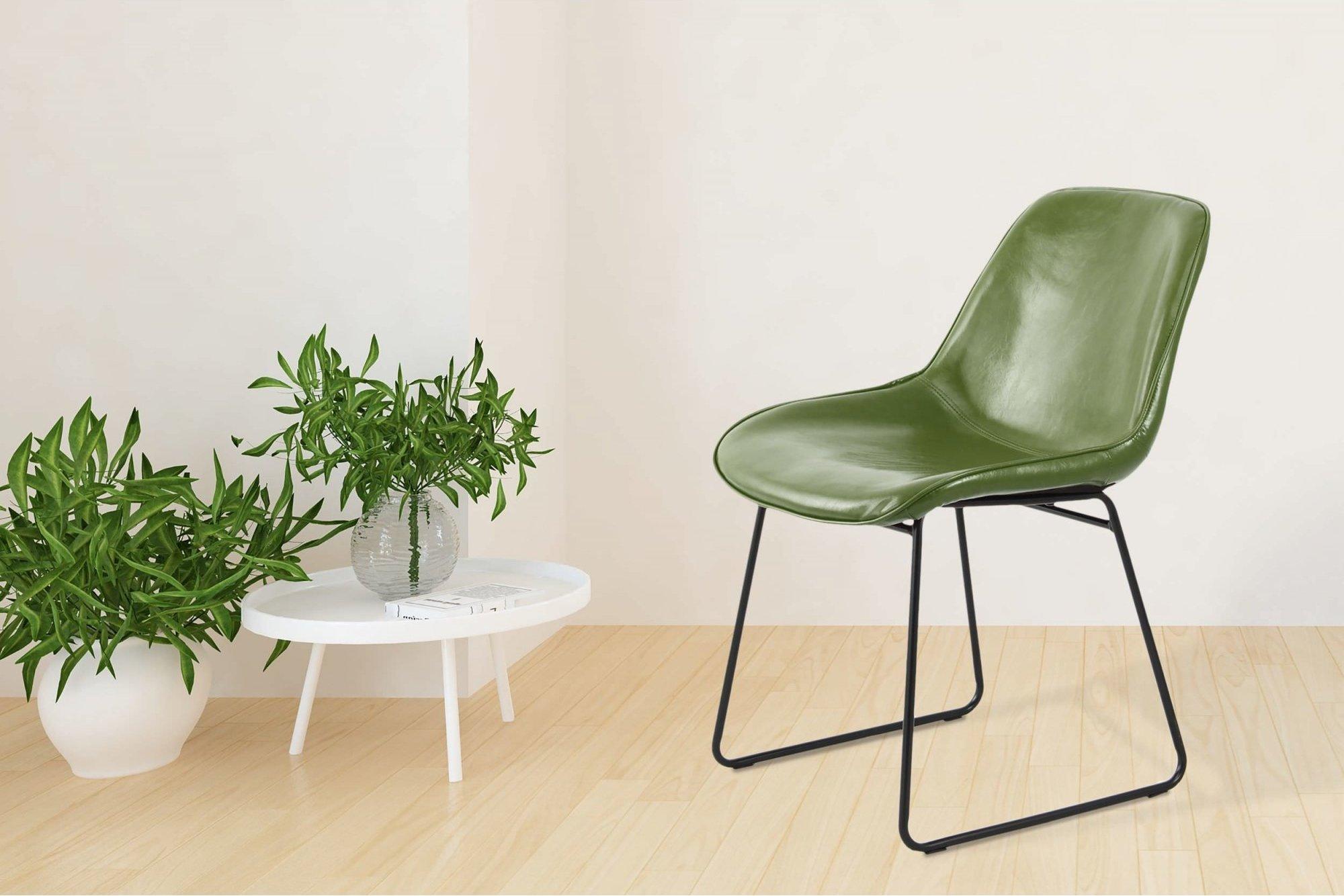 Chaise tradition imitation cuir couleur vert (lot de 2)