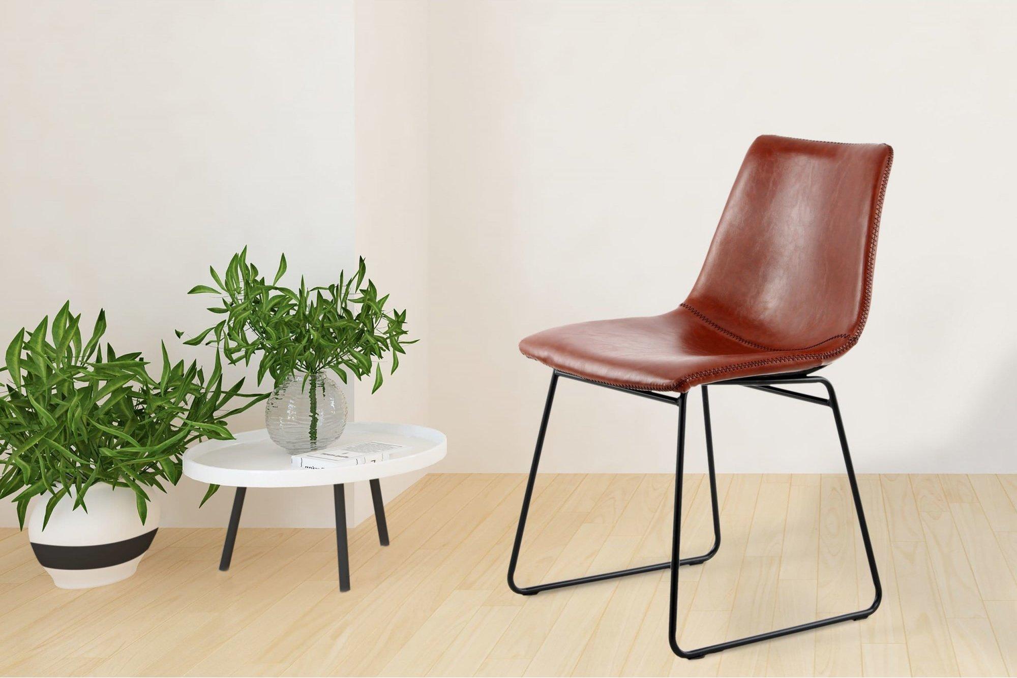 Chaise design imitation couleur marron (lot de 2)