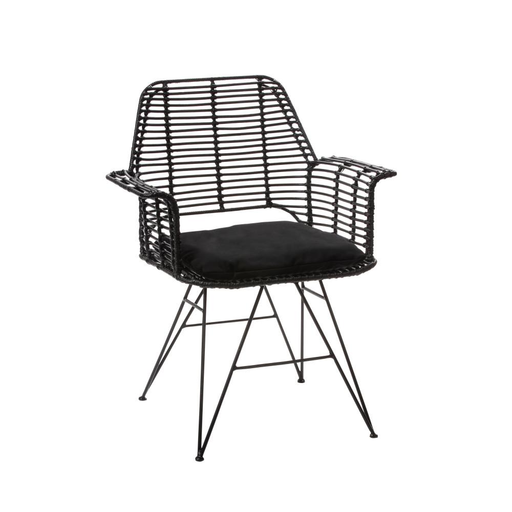 Fauteuil de table design en rotin noir