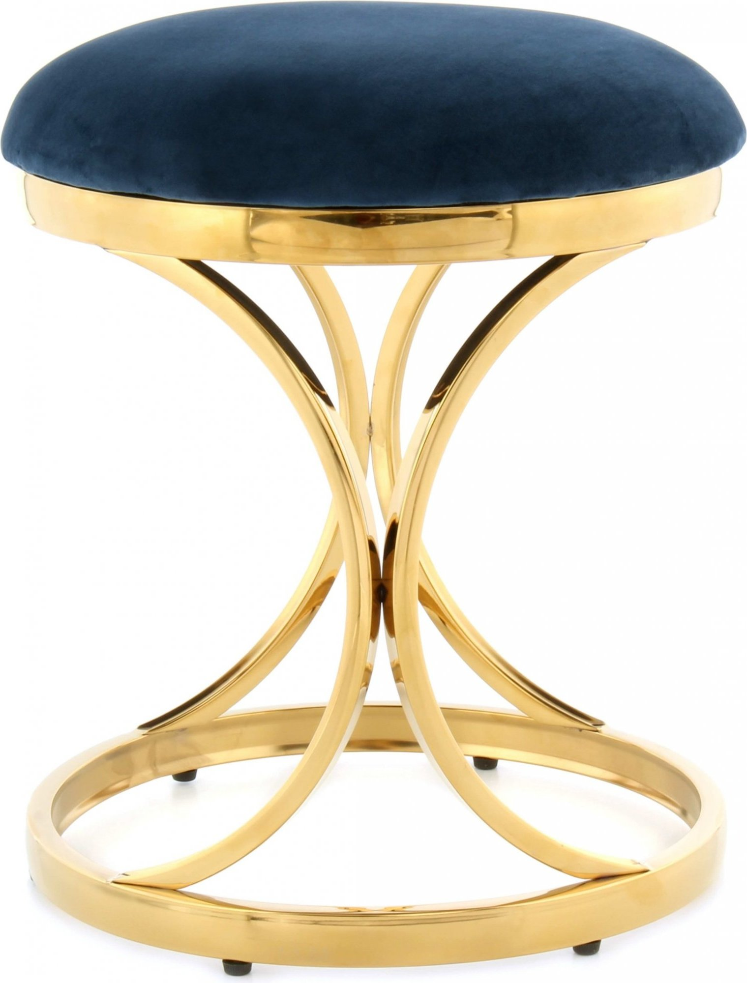 Tabouret rembourré pietement doré assise bleu h49cm