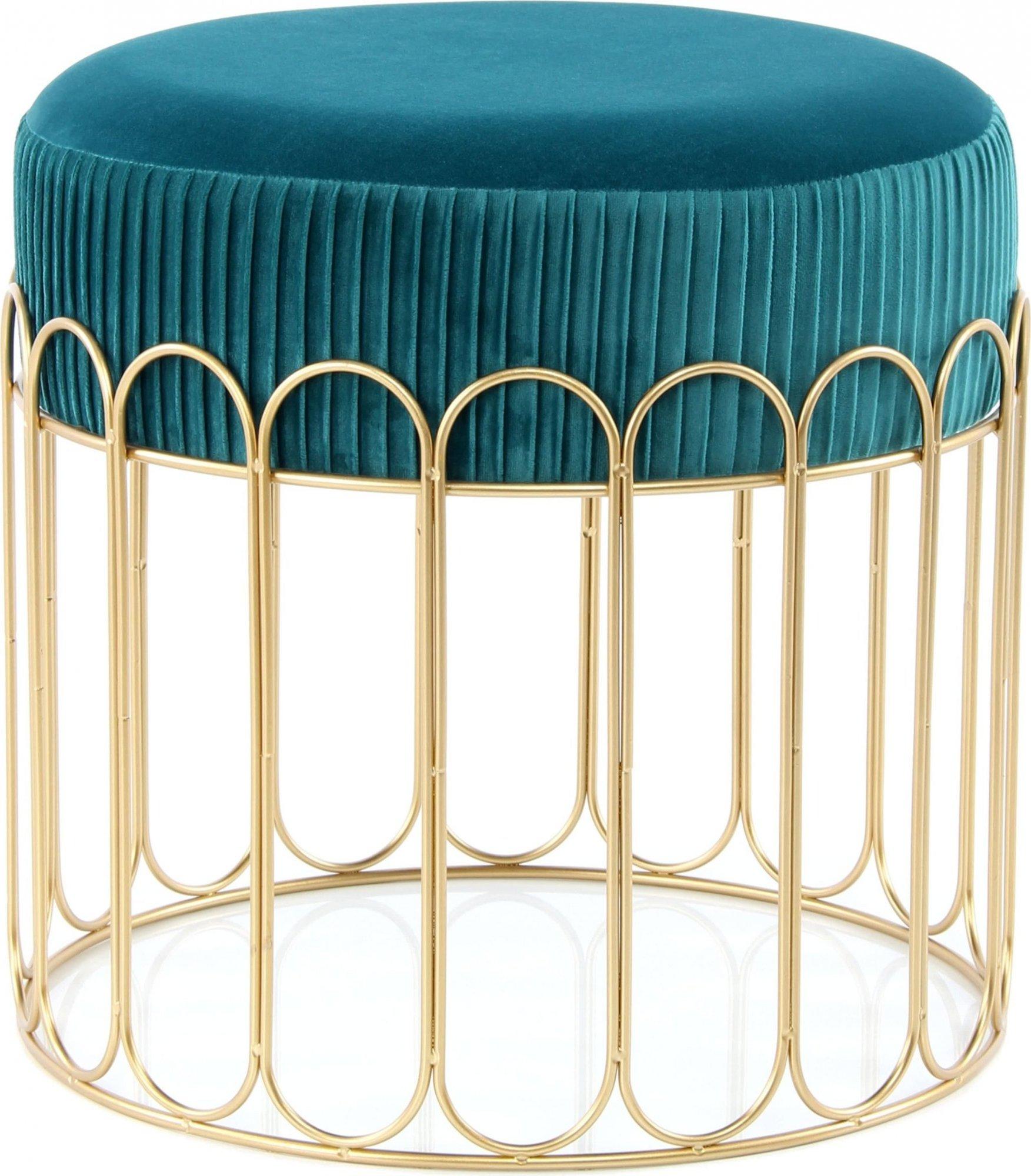 Tabouret assise rembourrée couleur bleu et doré h40cm