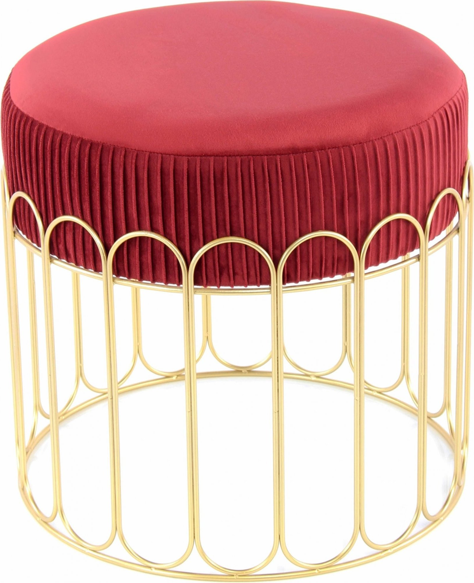 Tabouret assise rembourrée couleur rouge et doré h40cm
