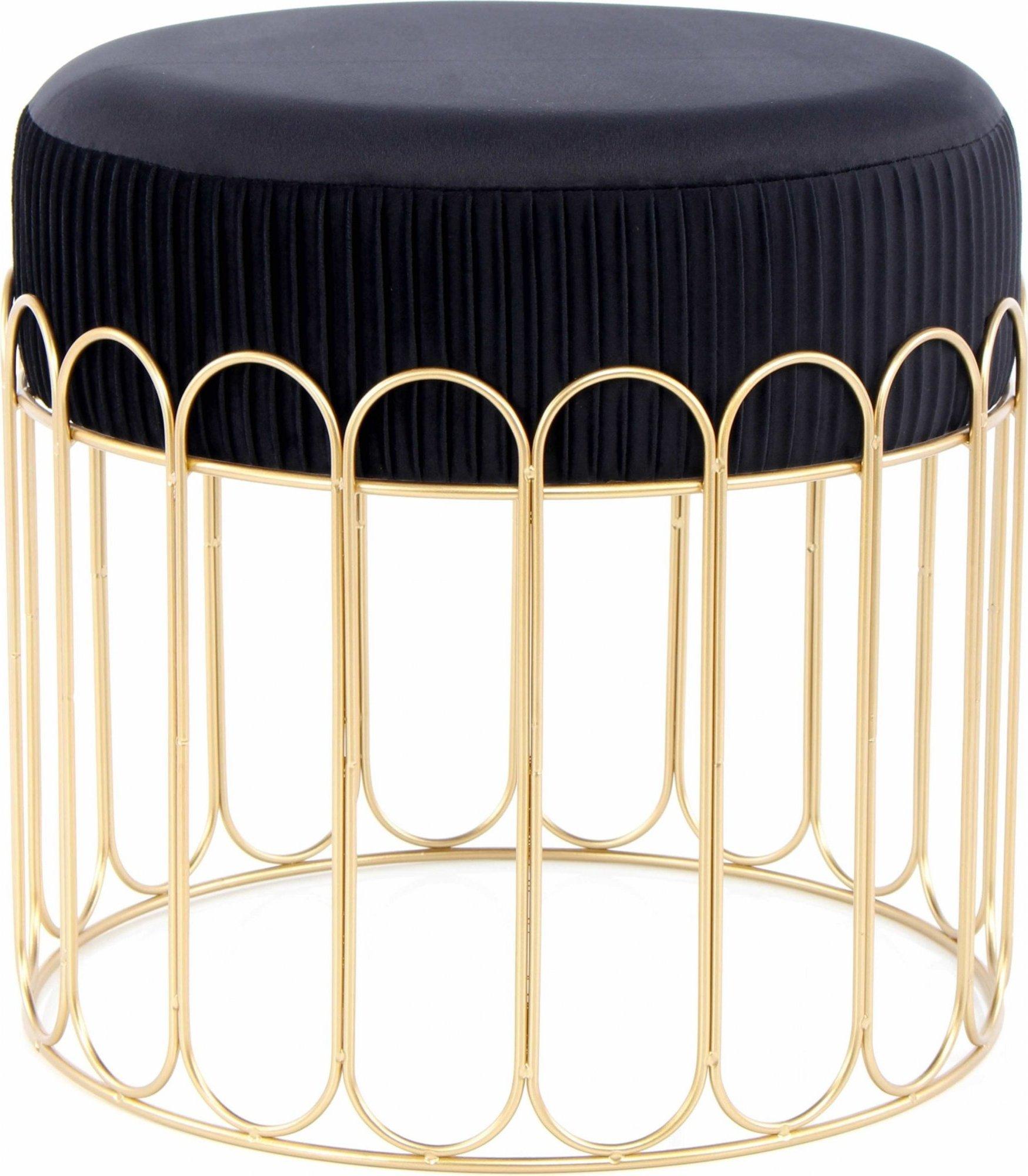 Tabouret assise rembourrée couleur noir et doré h40cm