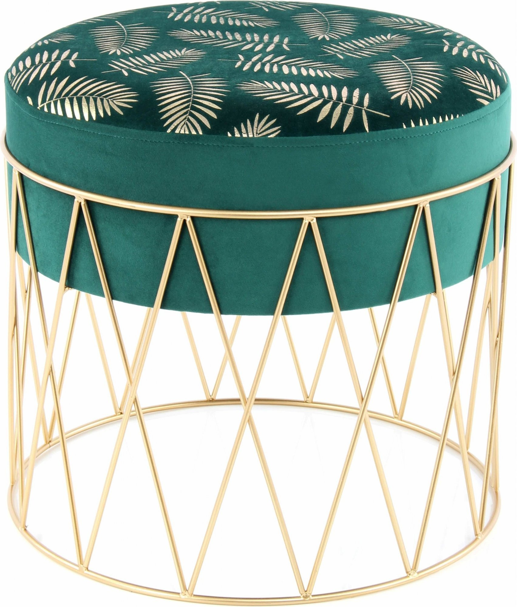 Tabouret assise rembourrée couleur vert et doré h40cm
