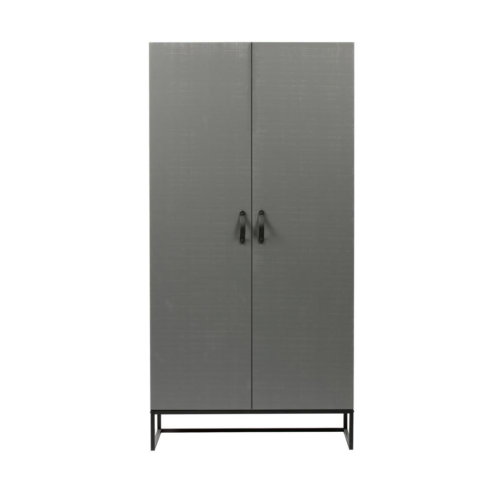 Armoire 2 portes en pin massif gris