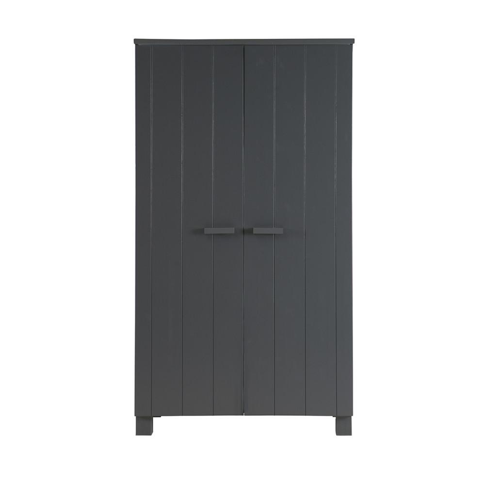 Armoire 2 portes en pin brossé gris anthracite