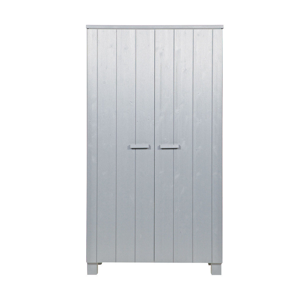 Armoire 2 portes en pin brossé gris béton
