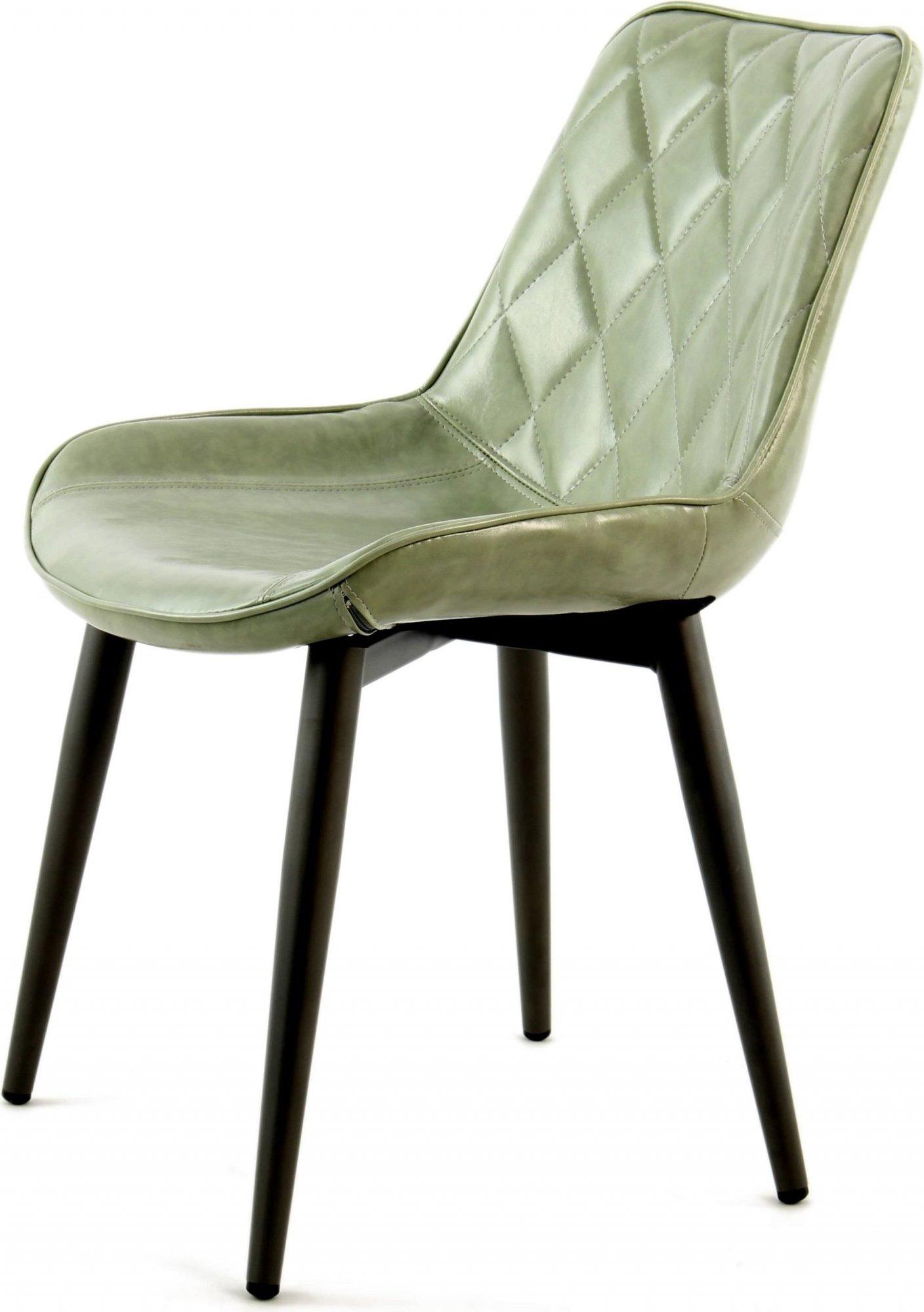 Chaise design rembourrée imitation cuir vert pâle (lot de 2)