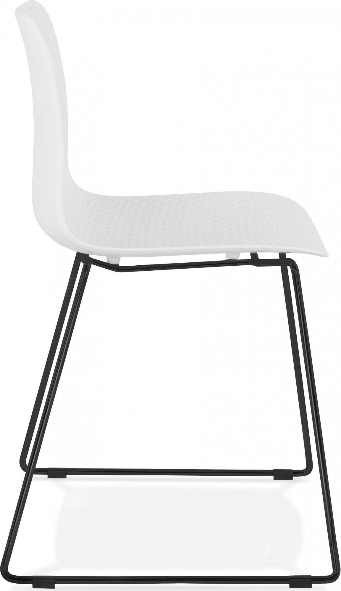 Chaise de table design assise couleur blanc pietement noir