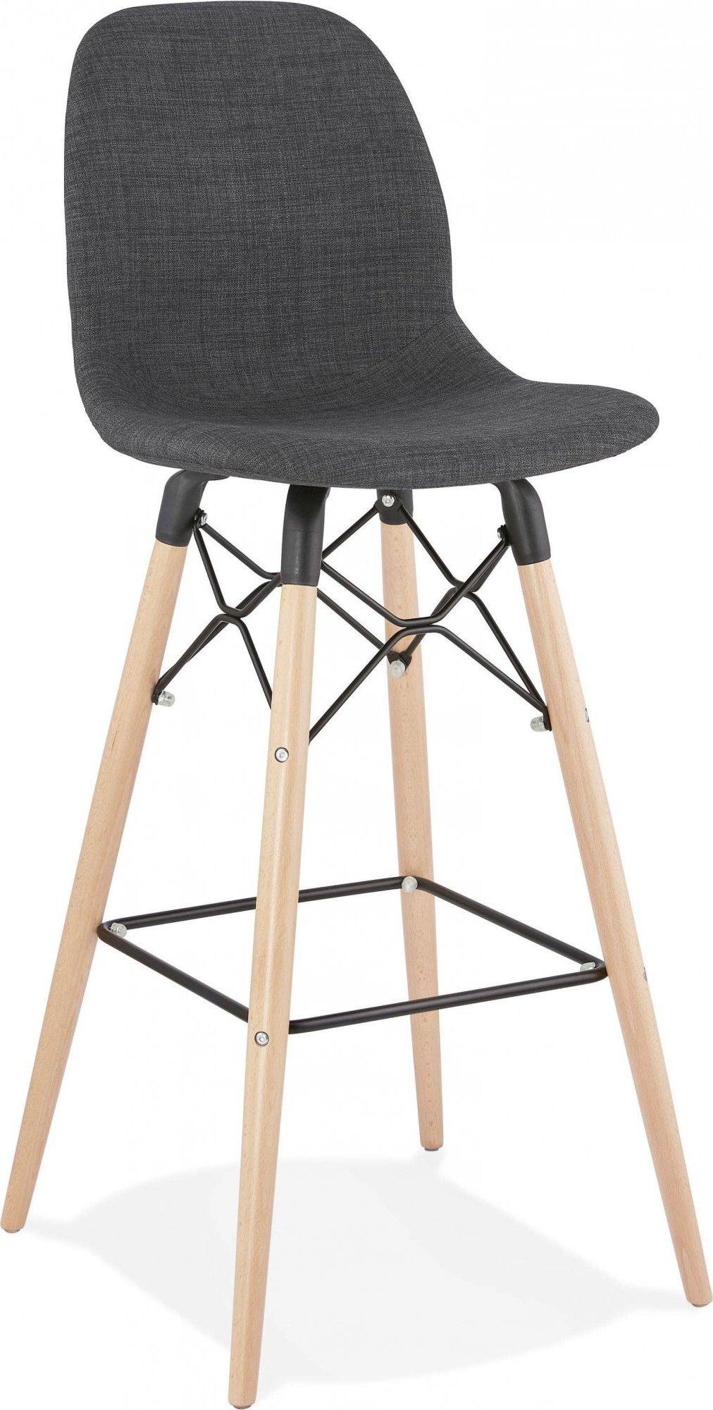 Tabouret de bar tissu gris pieds et bois h111cm