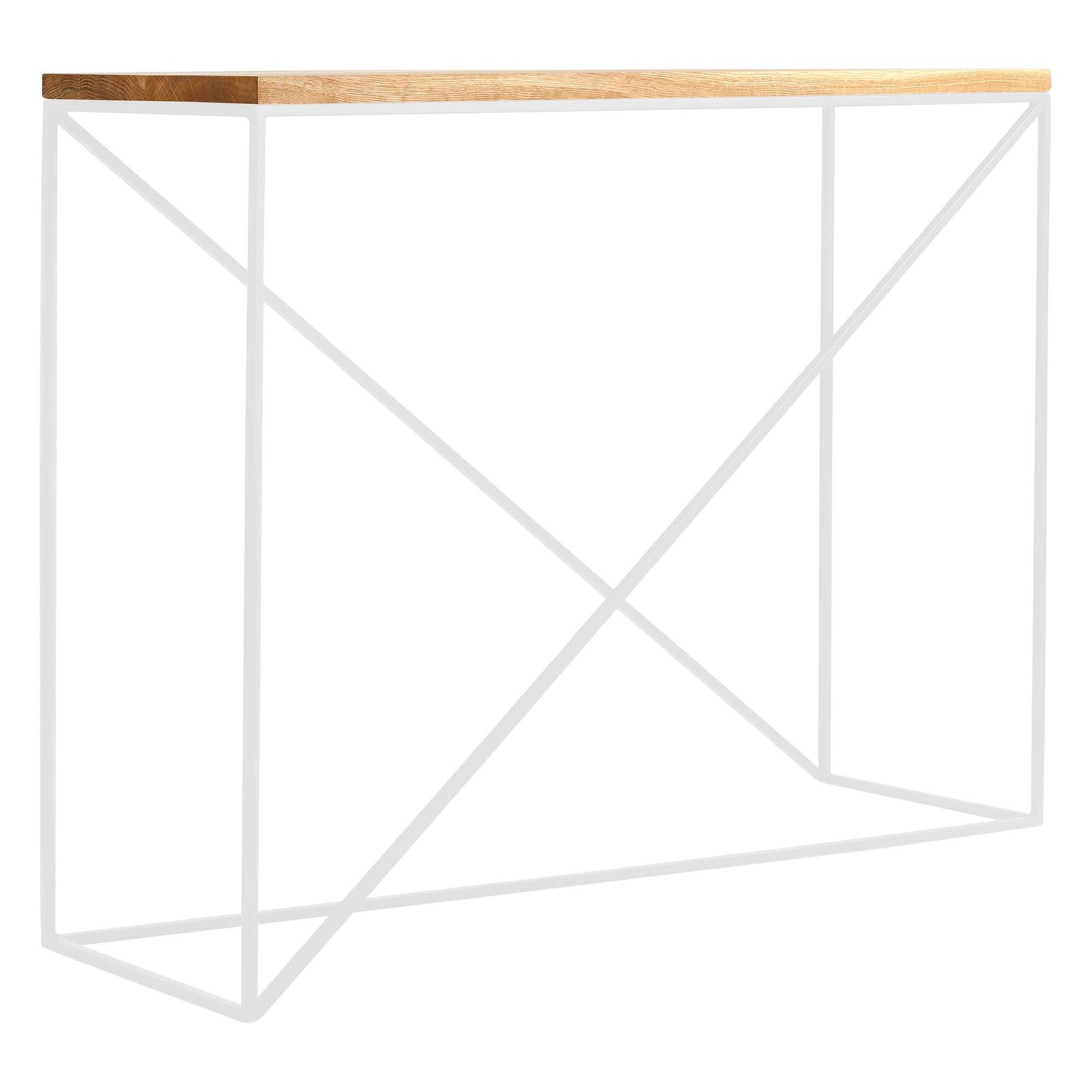 Console en bois massif clair et métal blanc l100cm