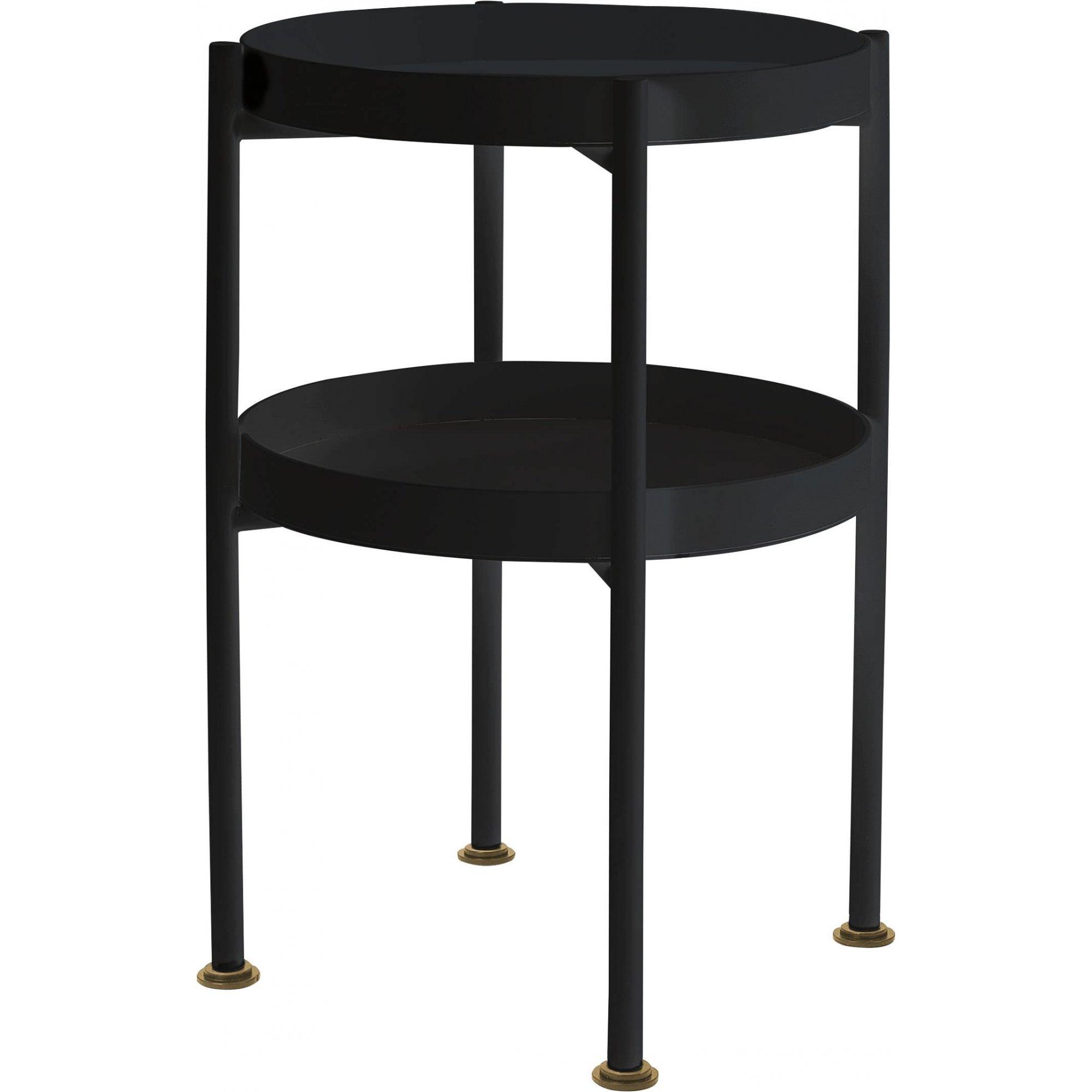 maison du monde Table d'appoint ronde 2 plateaux noir d40cm