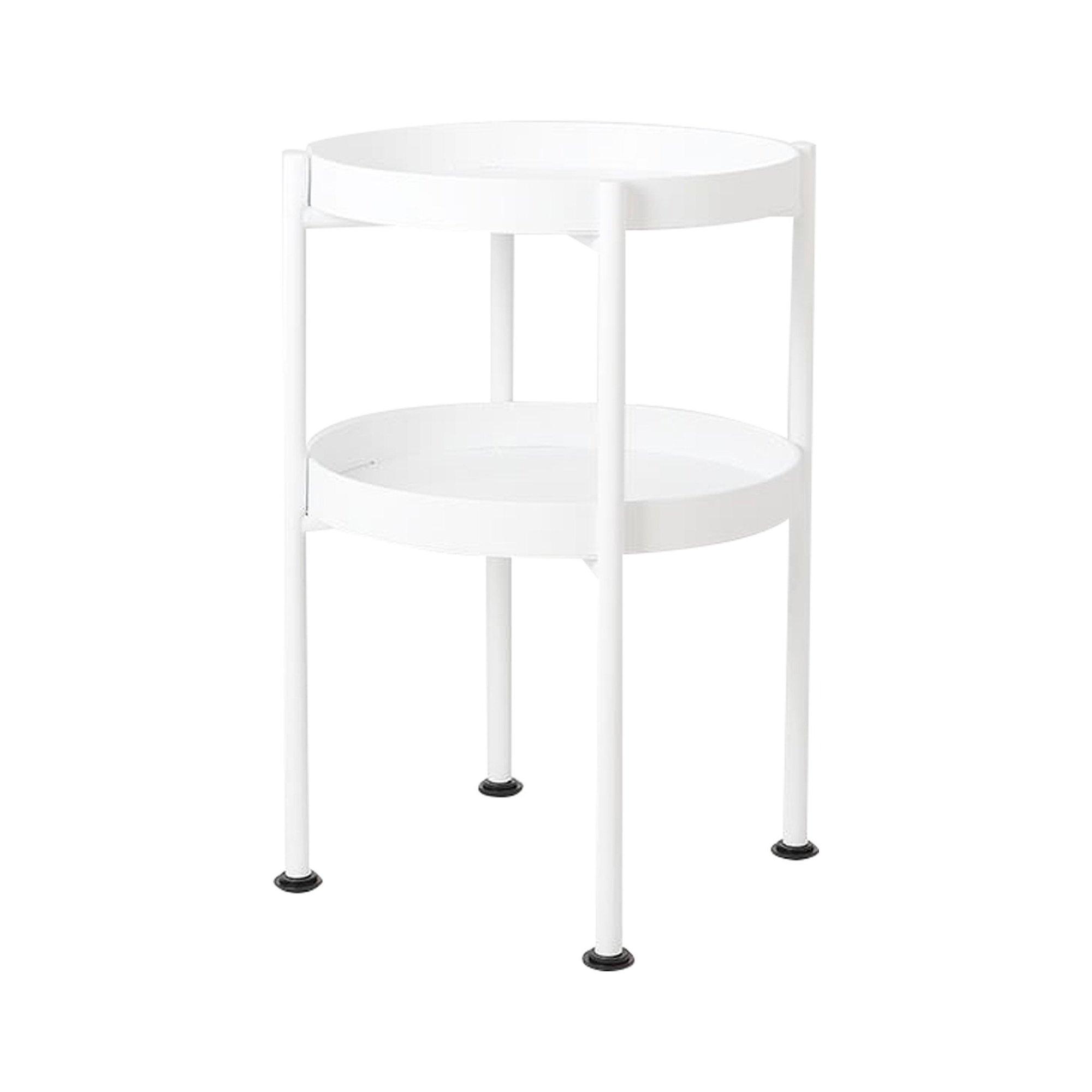 maison du monde Table d'appoint ronde 2 plateaux blanc d40cm