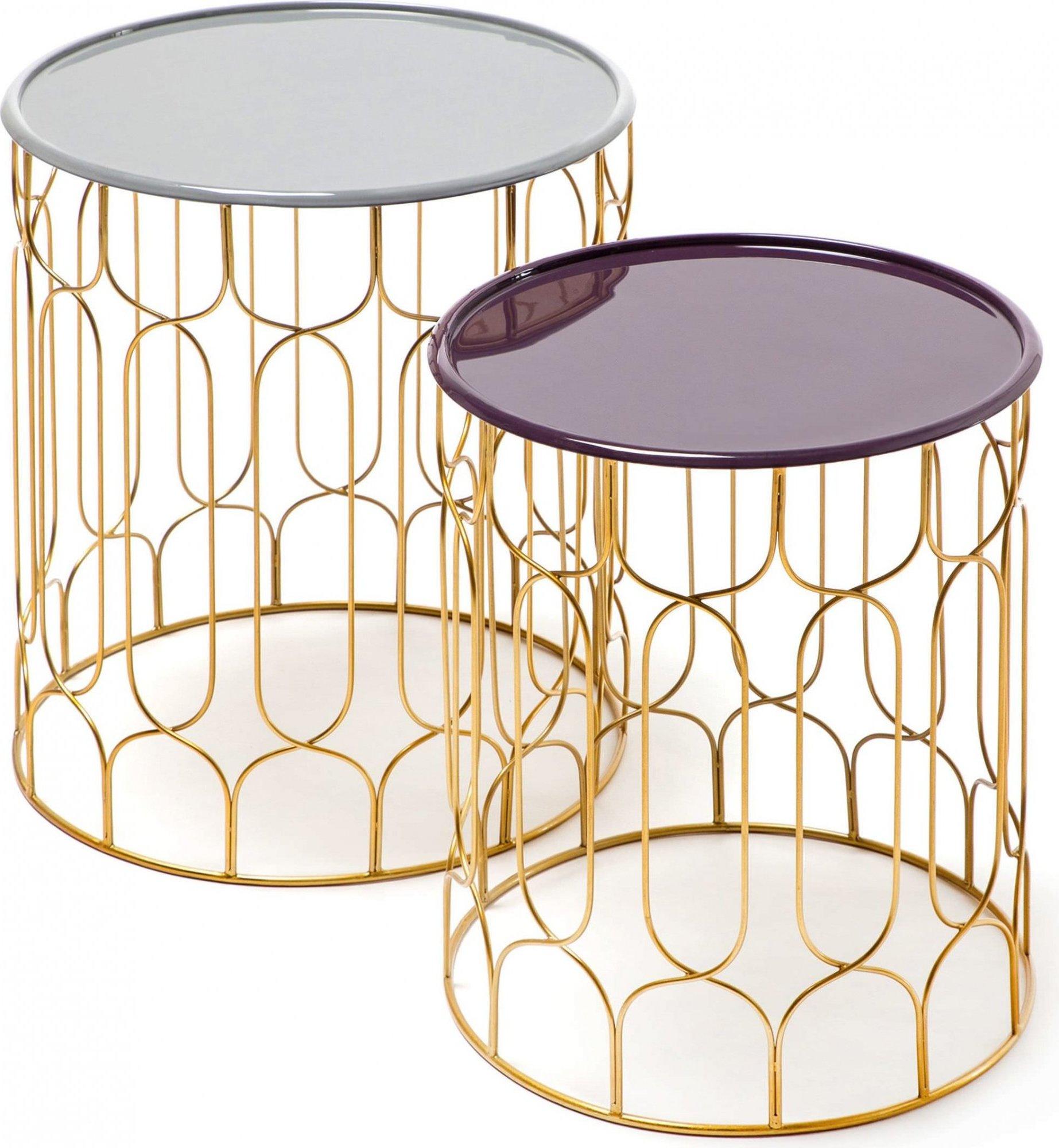 Table d'appoint gigogne ronde couleur violet d43cm