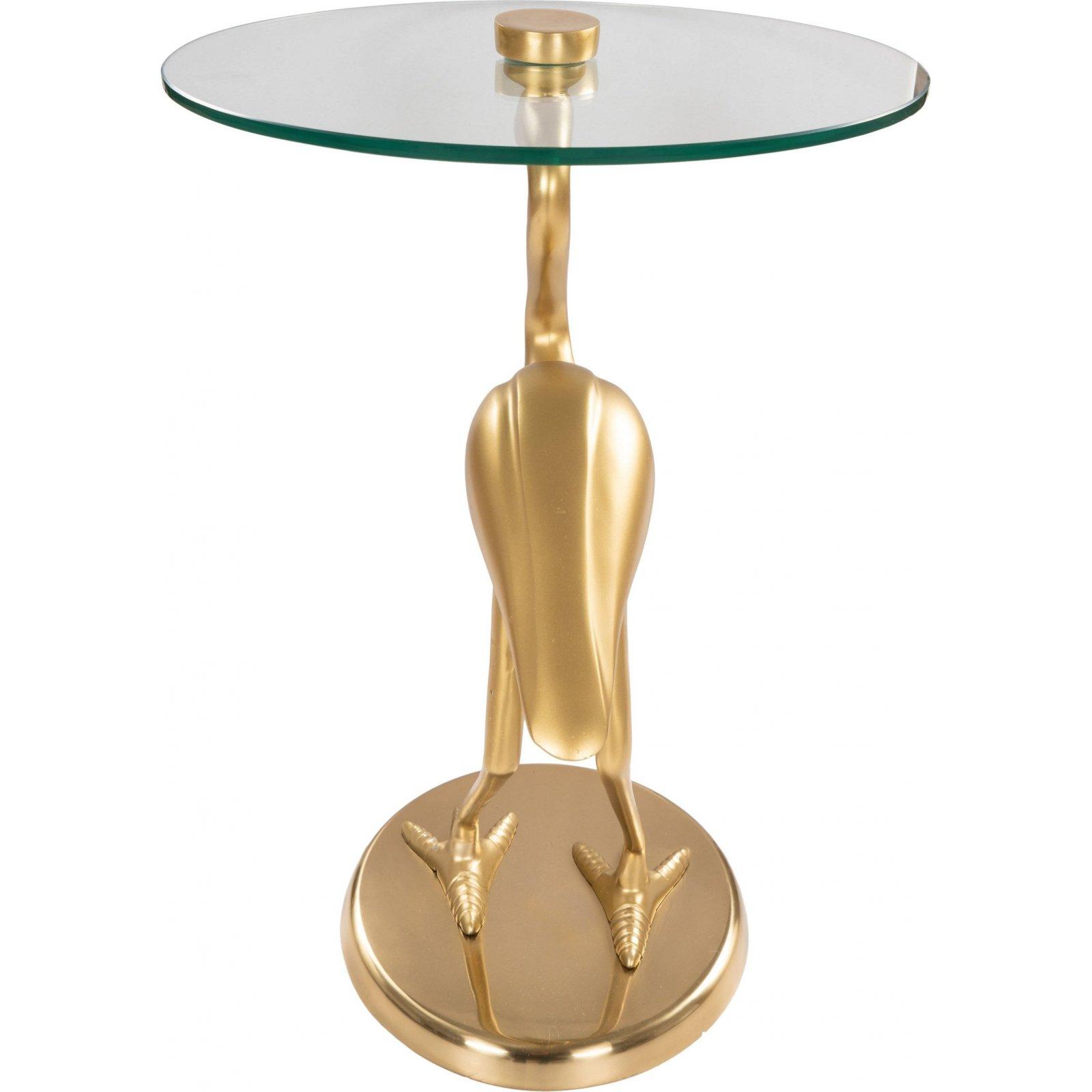 Table d'appoint ronde pied doré plateau verre d40cm