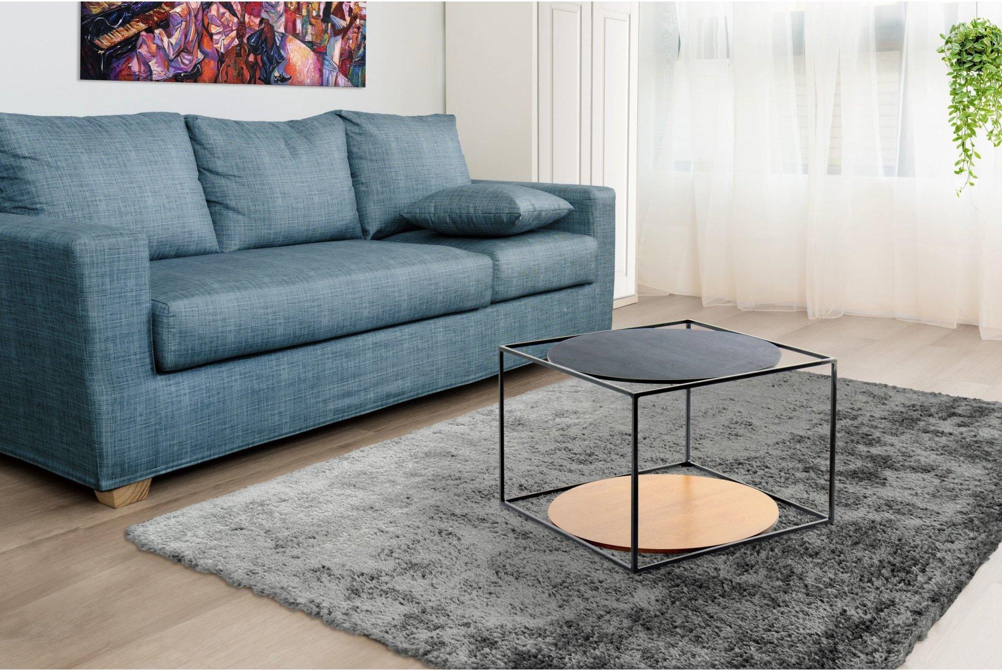 Table basse rectangulaire plateau bois noir l50cm