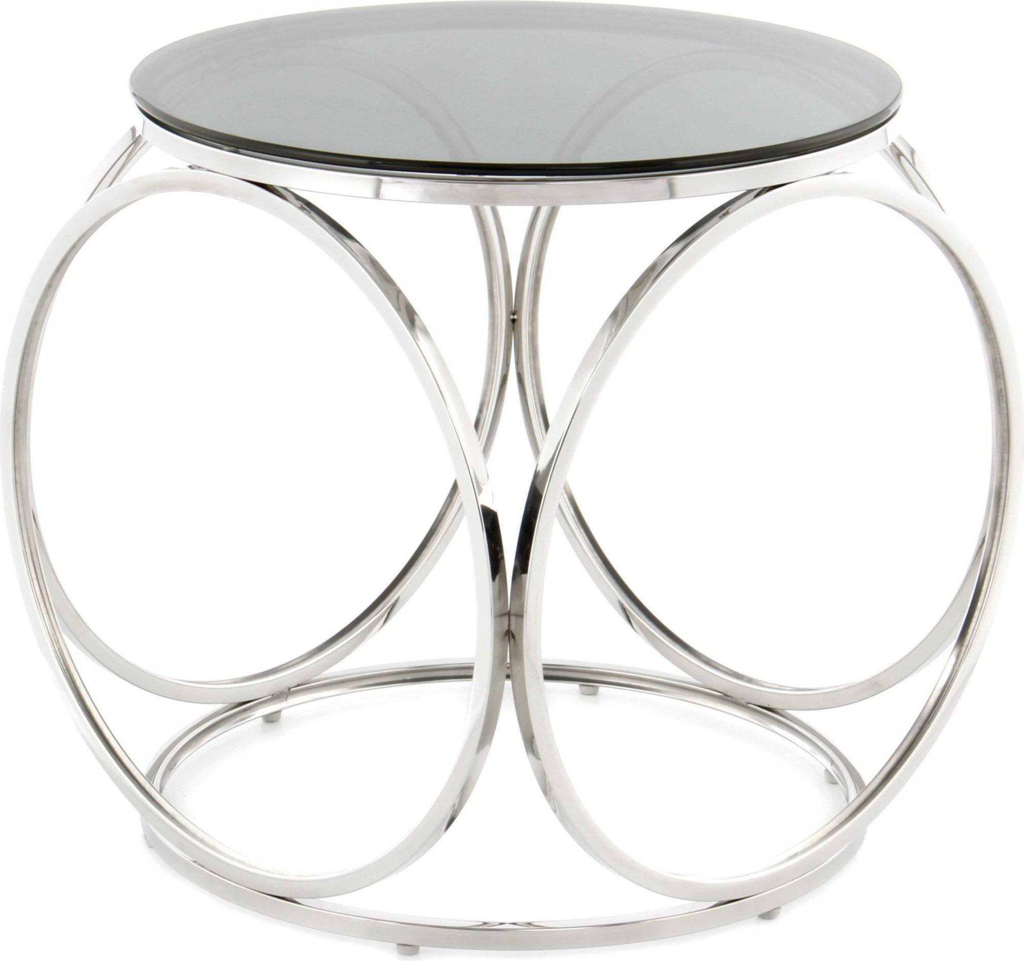 Table d'appoint ronde argent plateau verre fumé d50cm
