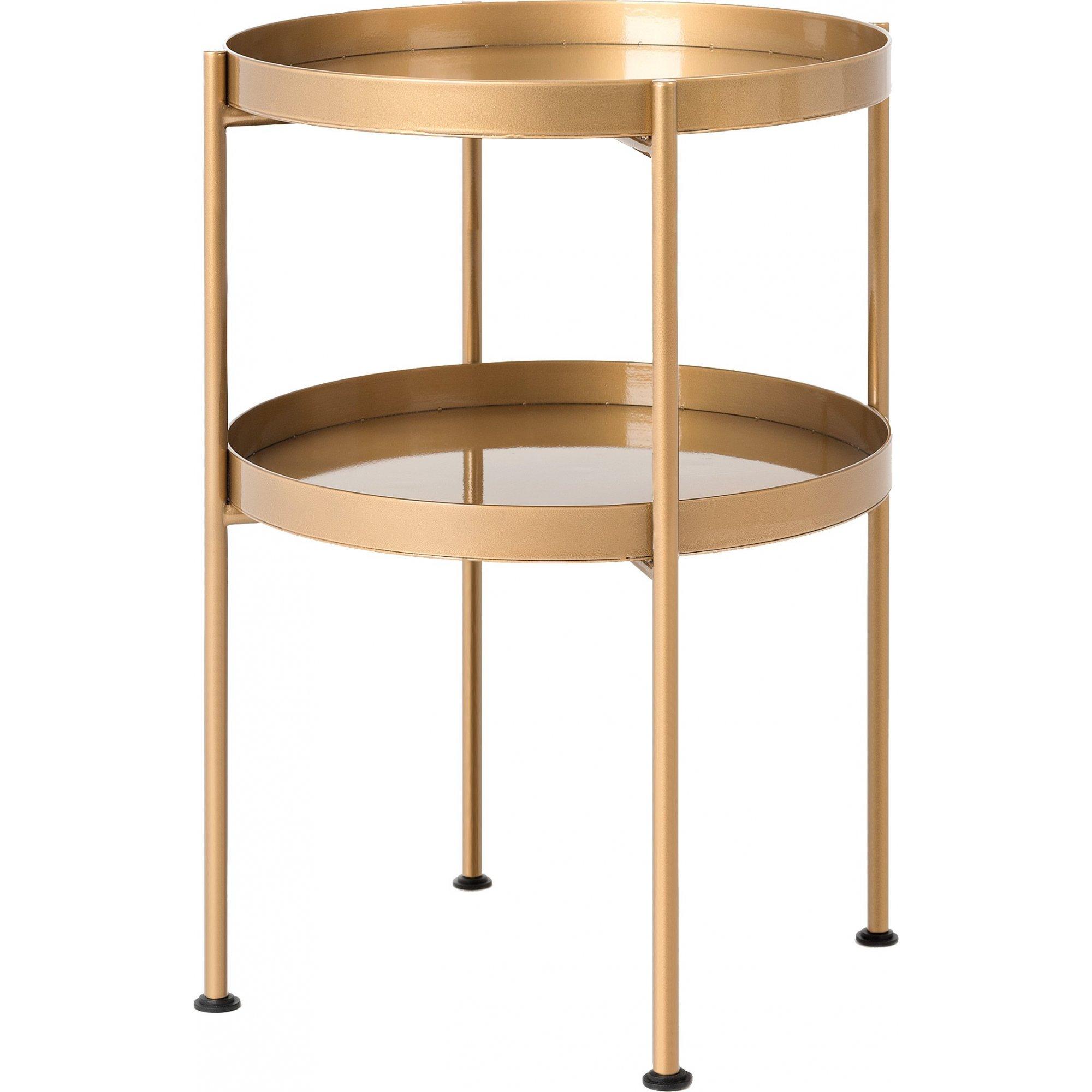 Table d'appoint ronde 2 plateaux doré d40cm