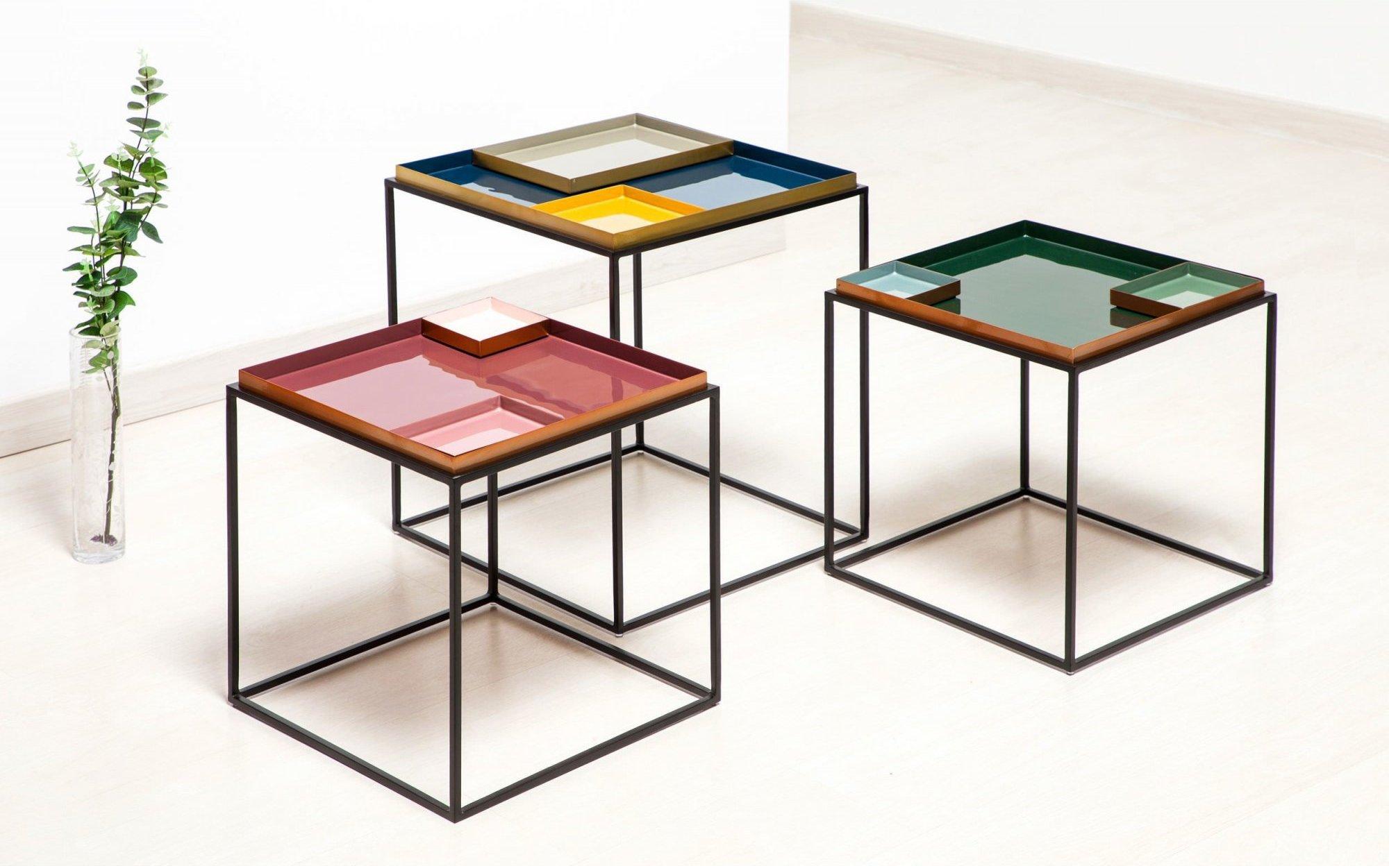 Table d'appoint carré couleur vert l40cm