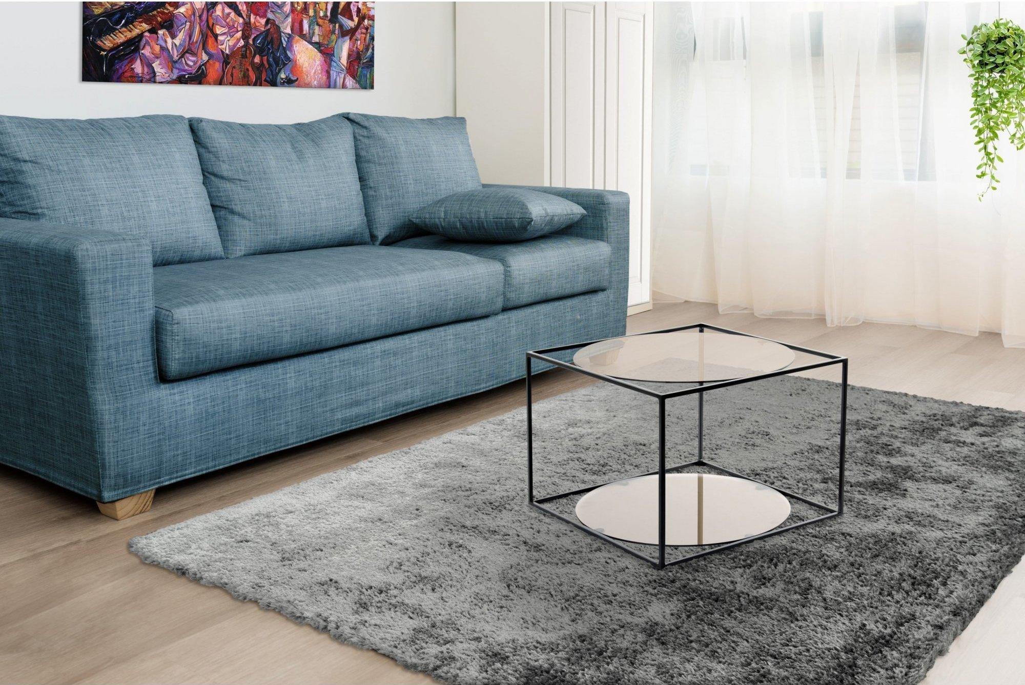 Table basse rectangulaire plateau verre fumé gris l50cm