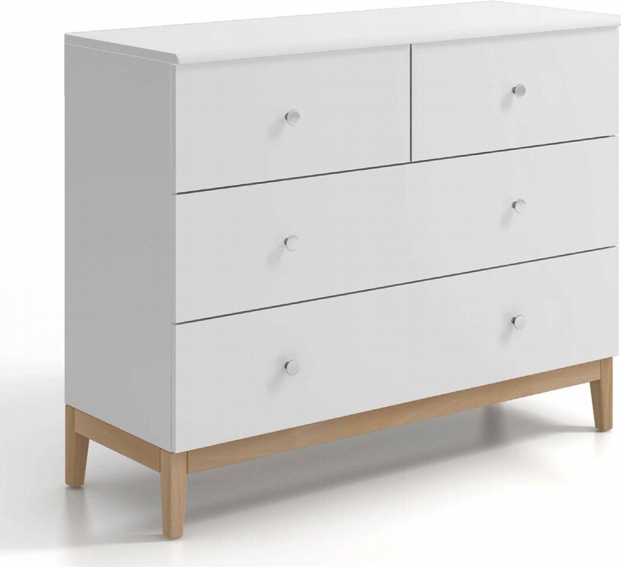 Commode 4 tiroirs en bois coouleur blanc et bois clair