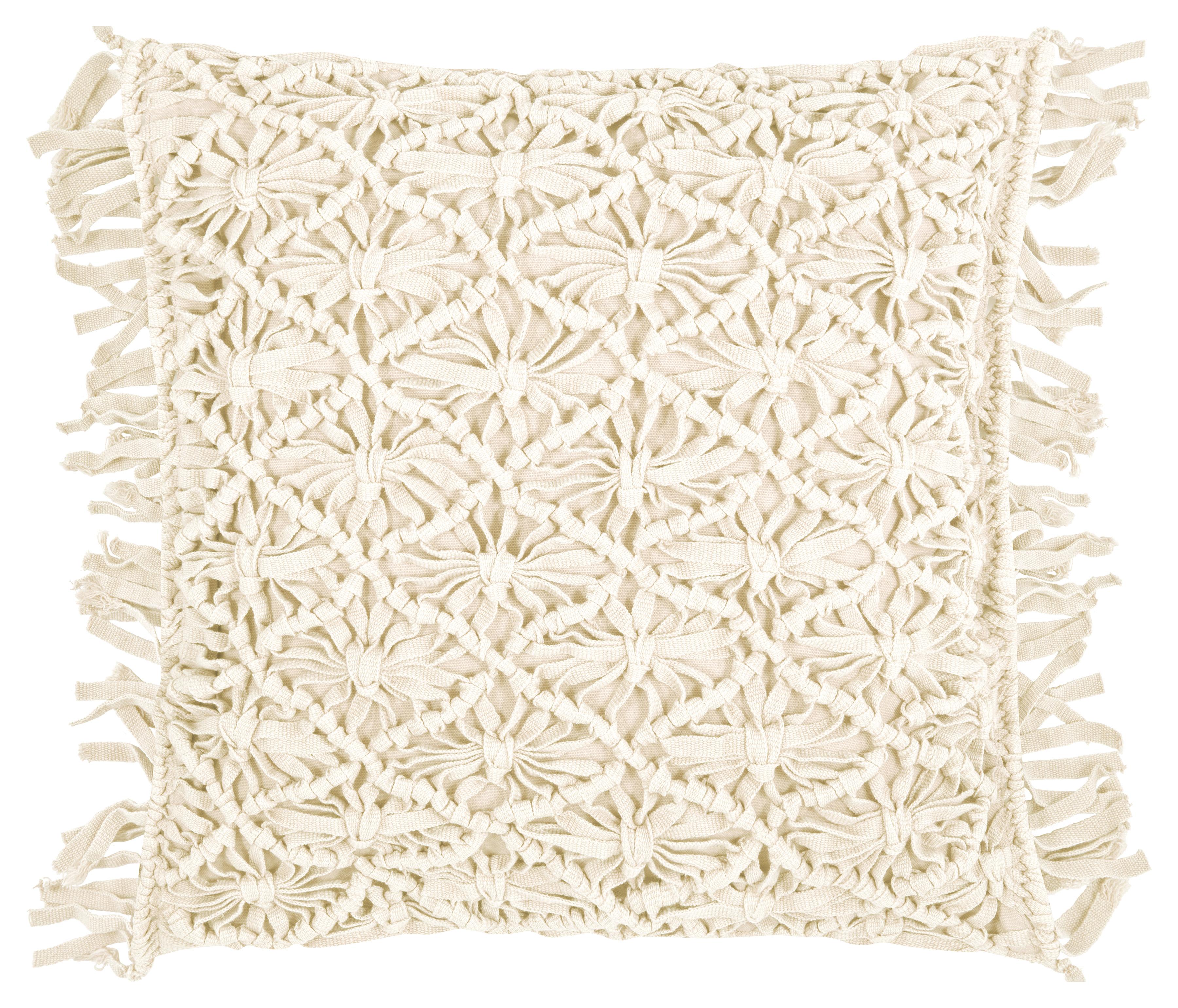 Housse de coussin à franges 100% coton lavé ivoire 45x45