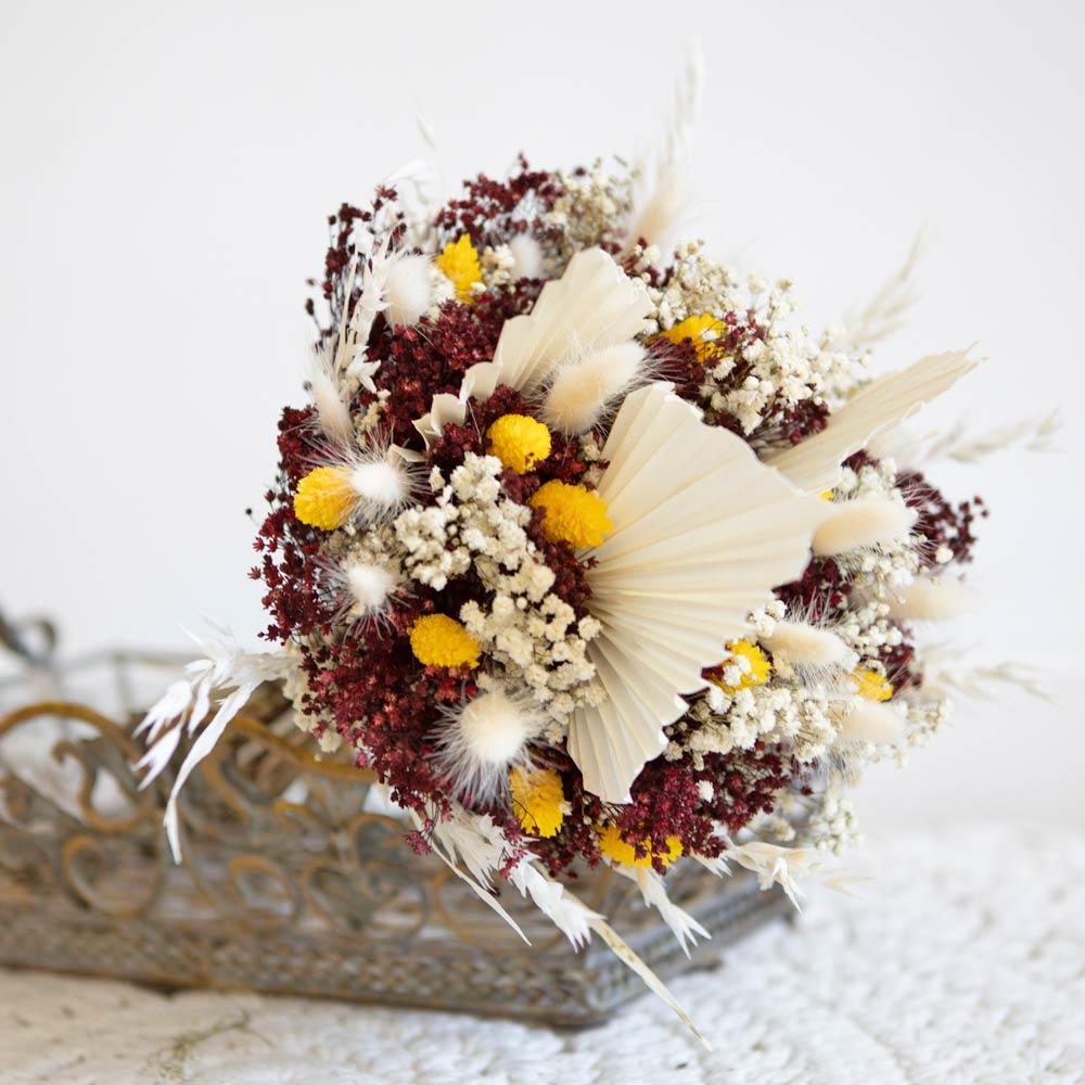 Bouquet de fleurs séchées à base de palme blanche