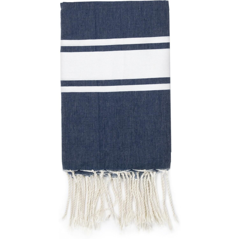 Fouta en coton bande blanche 100x200 Bleu jean