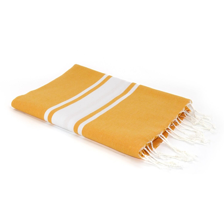 Fouta en coton bande blanche 100x200 Jaune safran