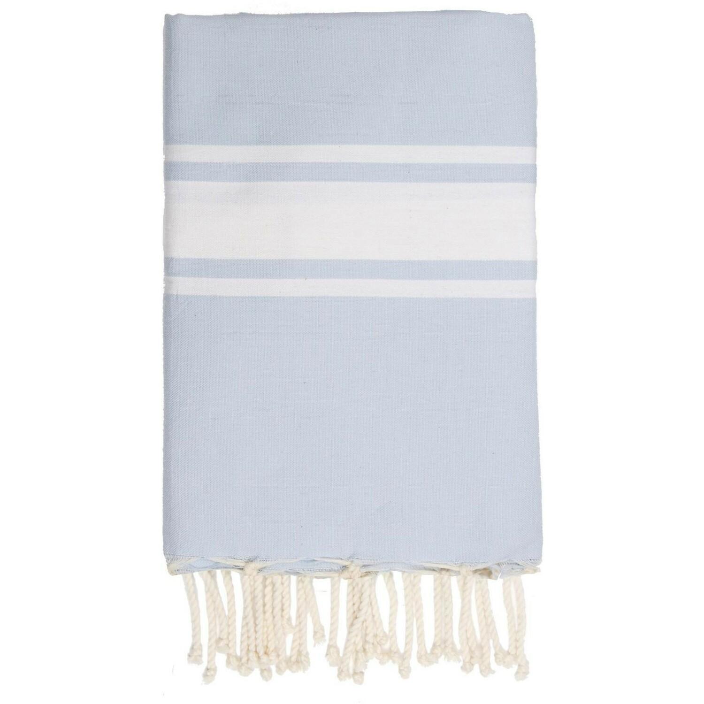 Fouta en coton bande blanche 100x200 Bleu pâle