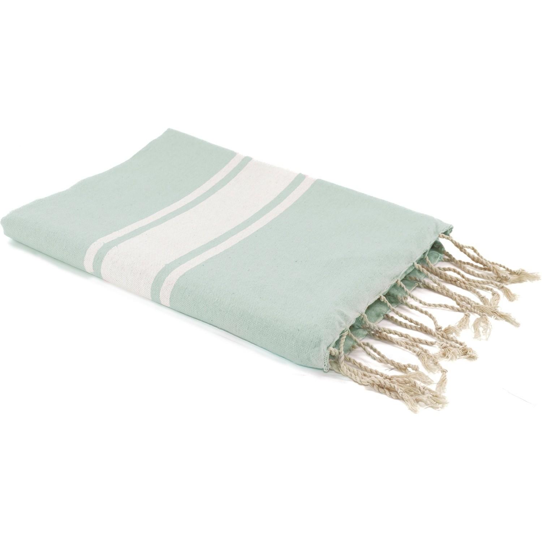 Fouta en coton bande blanche 100x200 Vert d'eau
