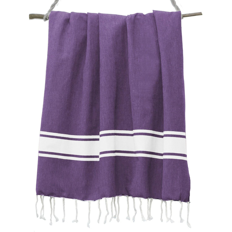 Fouta en coton bande blanche 100x200 Violet améthyste