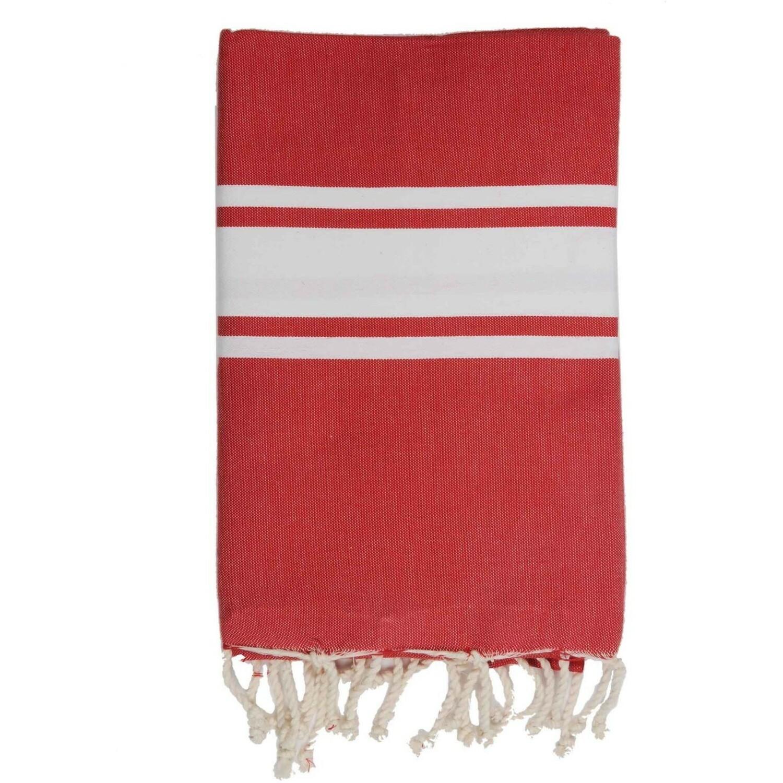 Fouta en coton bande blanche 100x200 Rouge