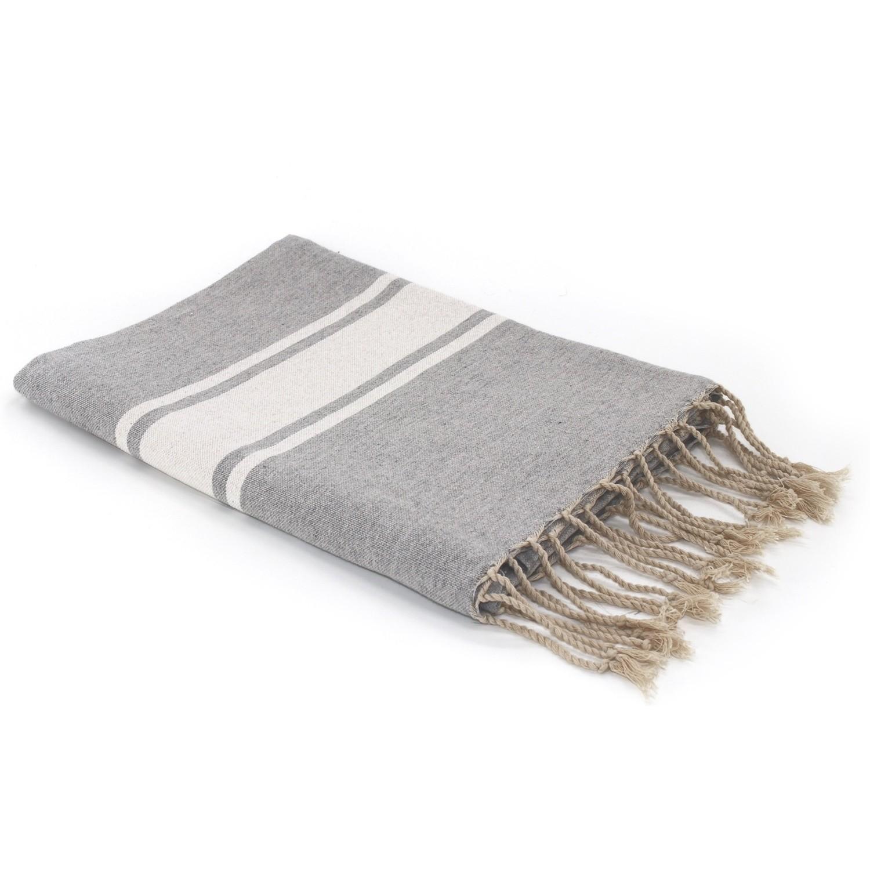 Fouta en coton bande blanche 100x200 Gris perle