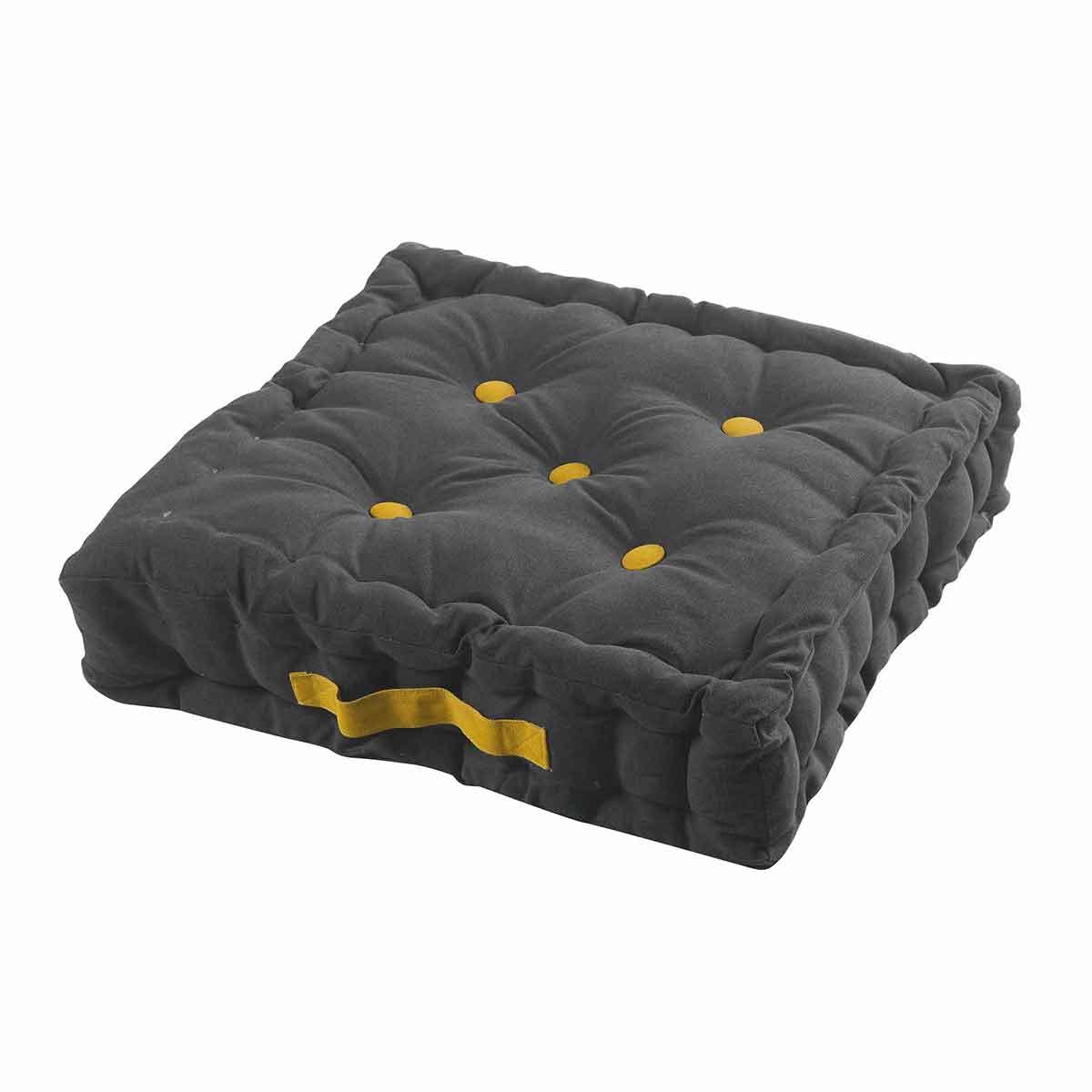 Coussin de sol bicolore à poignée colorée coton noir 45x45 (photo)