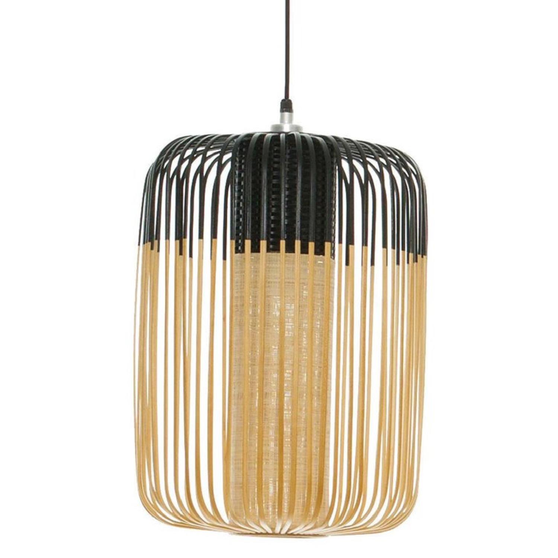 Suspension bambou noir D35cm H50cm