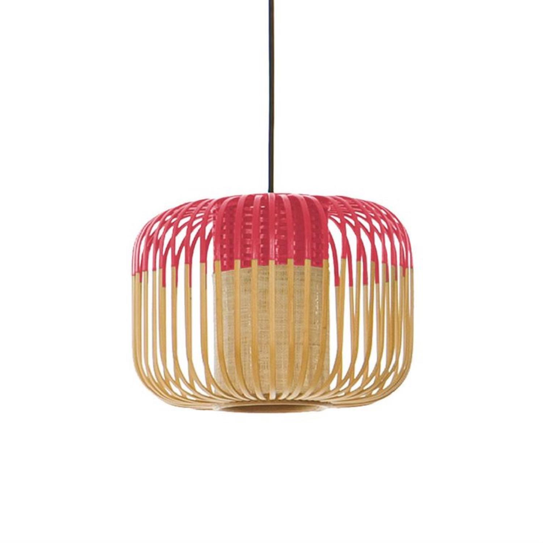 Suspension bambou rouge D27cm H20cm
