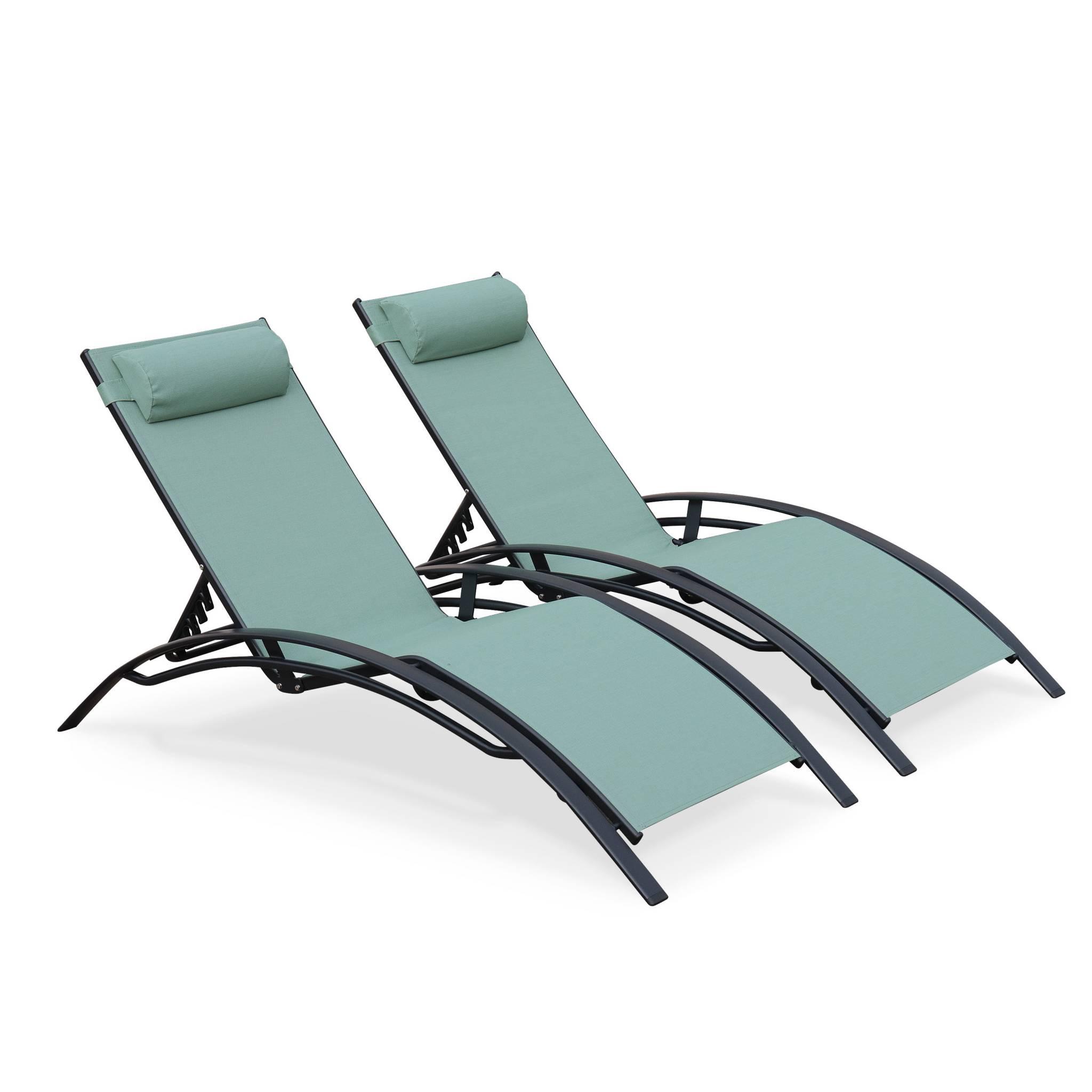Lot de 2 bains de soleil en aluminium et textilène vert gris