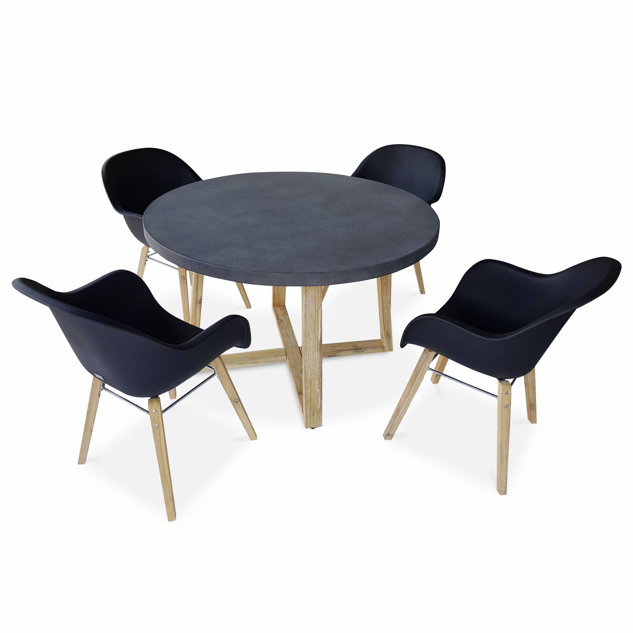 Table ronde 4 places et fauteuils scandinaves anthracites