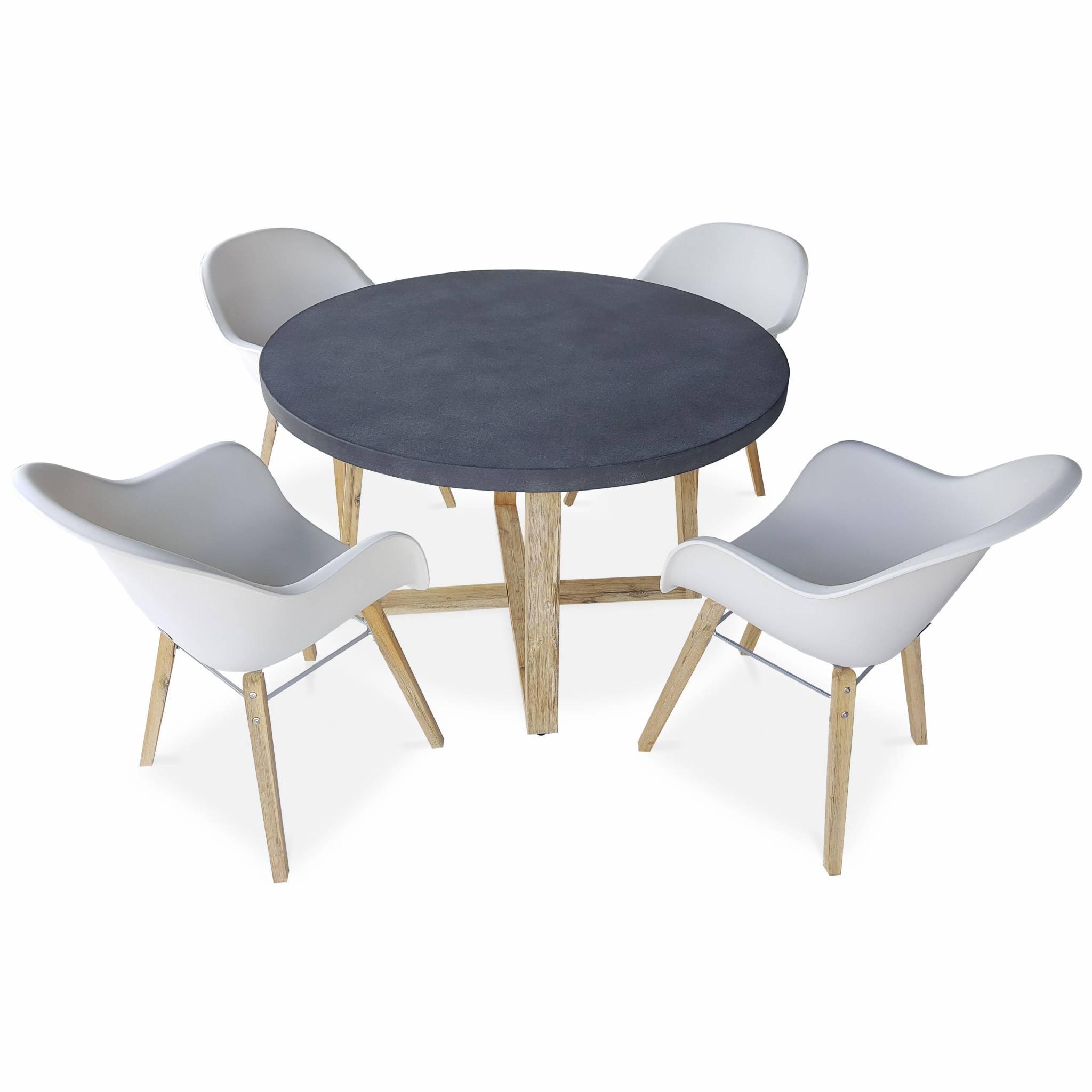 Table ronde 4 places et fauteuils scandinaves blanches