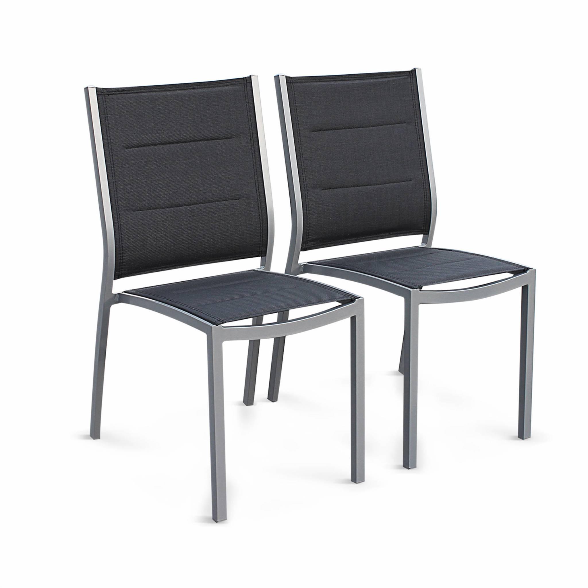 Lot de 2 chaises en aluminium gris et textilène gris